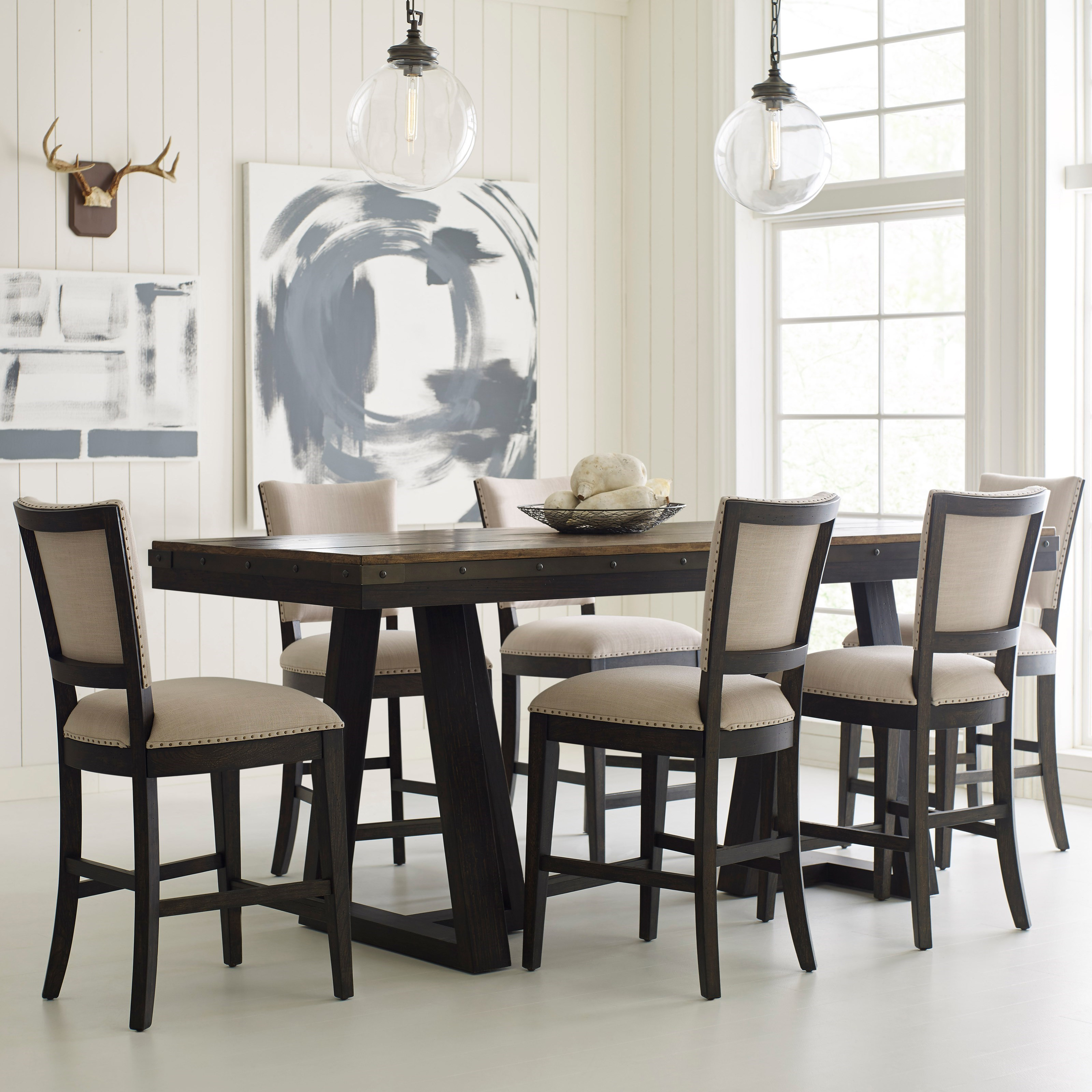 Meubles Accent Furniture Rockland Plank Road Seven Piece Counter Height Dining Set Stoney Creek