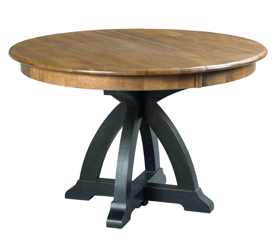 Round Oak Dining Table Stone Ridge Transitional Rustic Round Dining Table With One Extension Leaf By Kincaid Furniture At Wayside Furniture