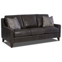 Klaussner Belton Leather Sofa with Track Arms and Fabric ...