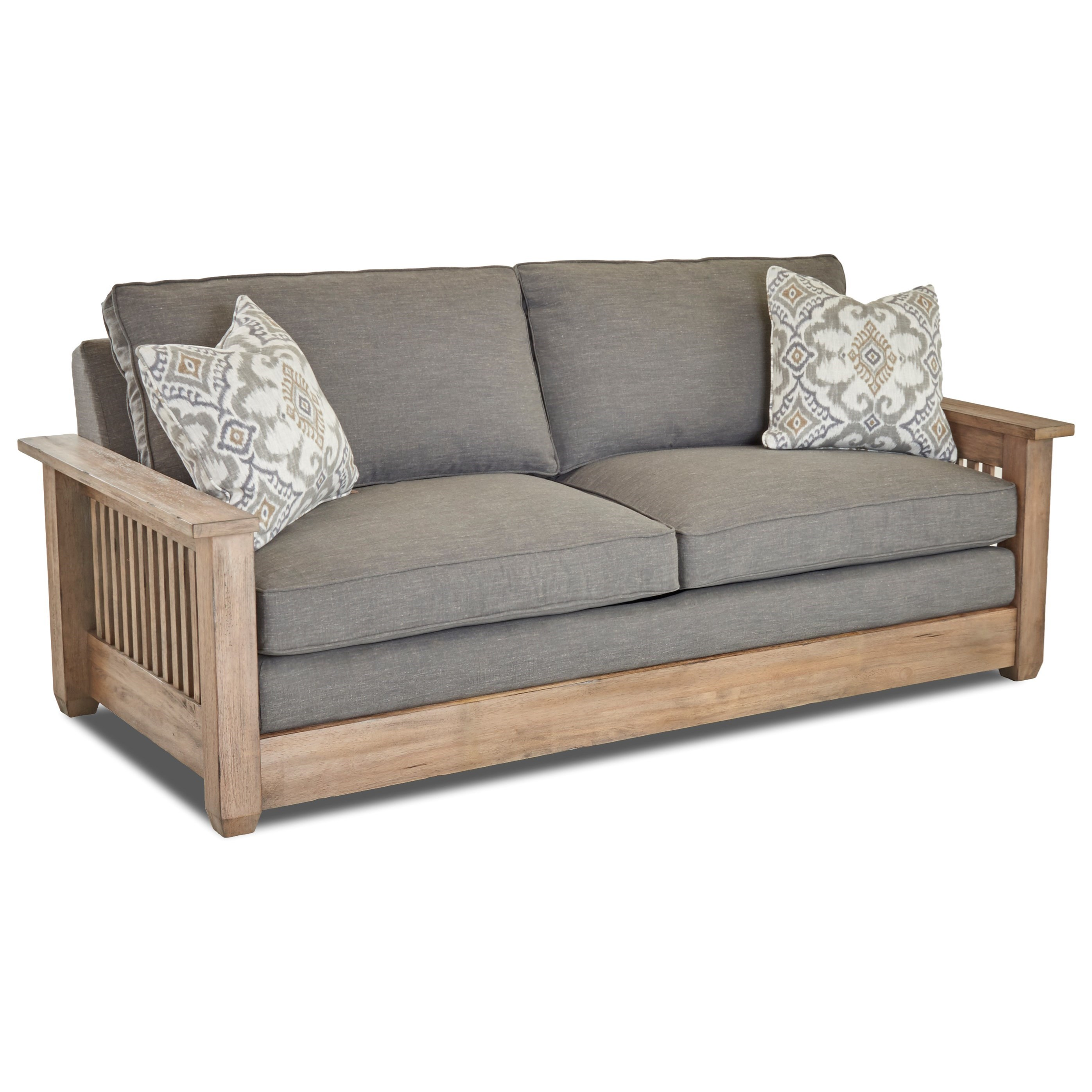 Sofa Queen Glenwood Queen Inner Spring Sleeper Sofa With Mission Style Arms By Klaussner At Suburban Furniture