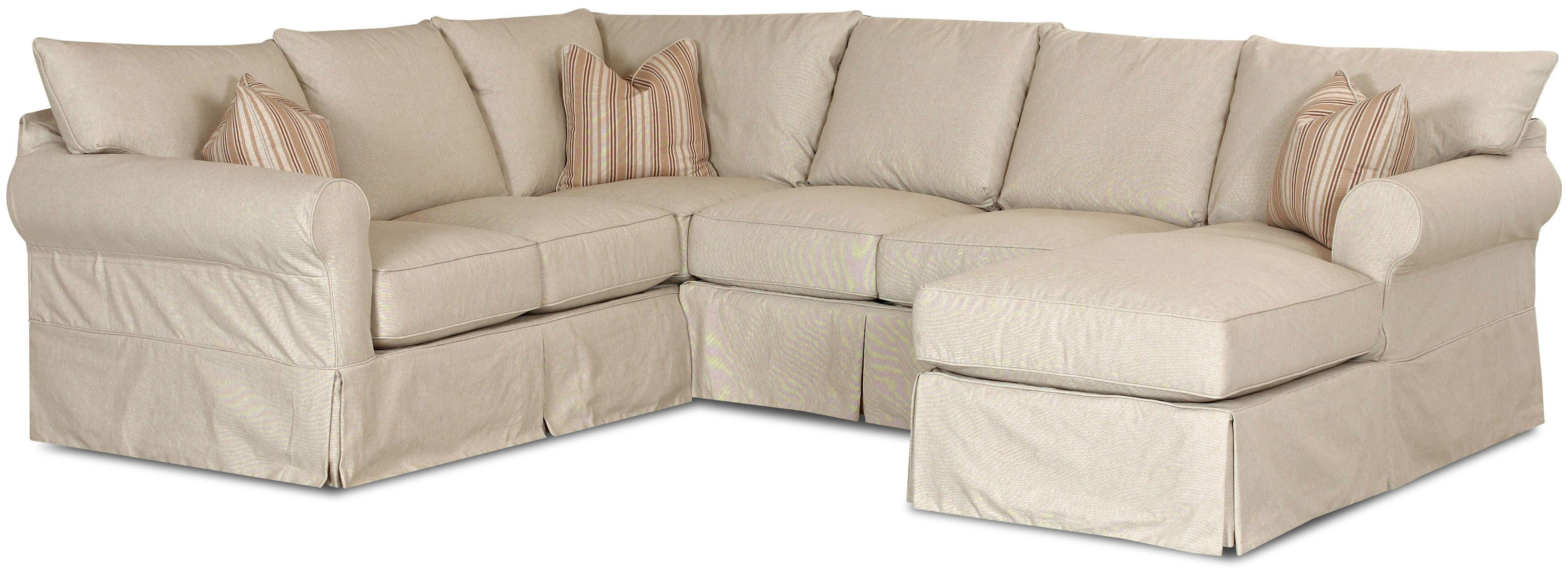 Klaussner Jenny Slip Cover Sectional Sofa With Right Chaise H L Stephens Sectional Sofas