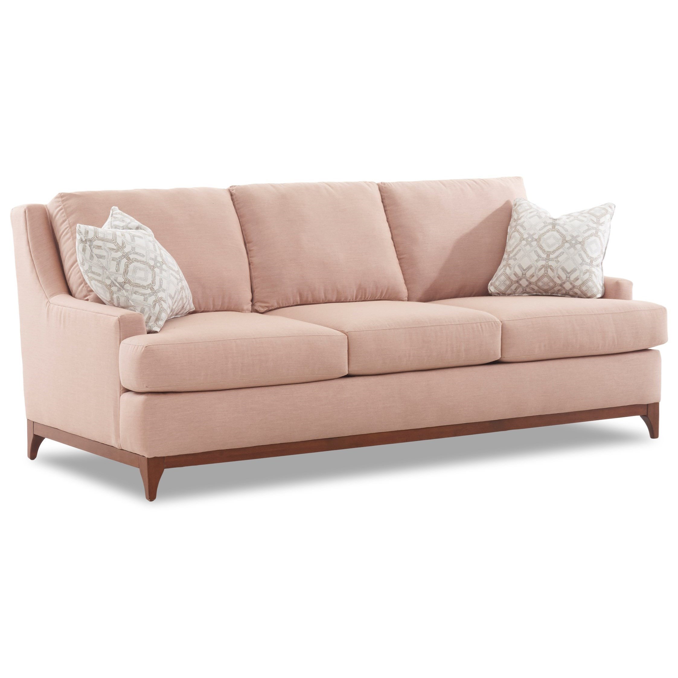 Contemporary Couch Luca Contemporary Sofa With Wood Base By Klaussner At Suburban Furniture