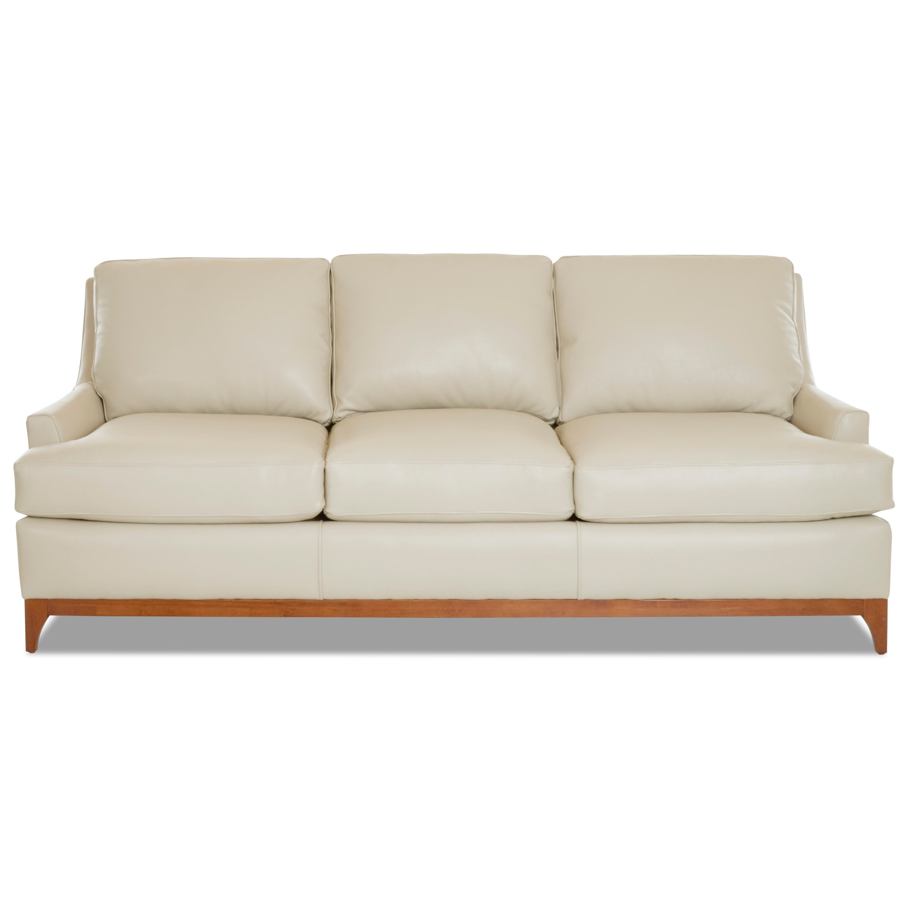 Klaussner Luca Contemporary Leather Sofa With Wood Base Value City Furniture Sofas