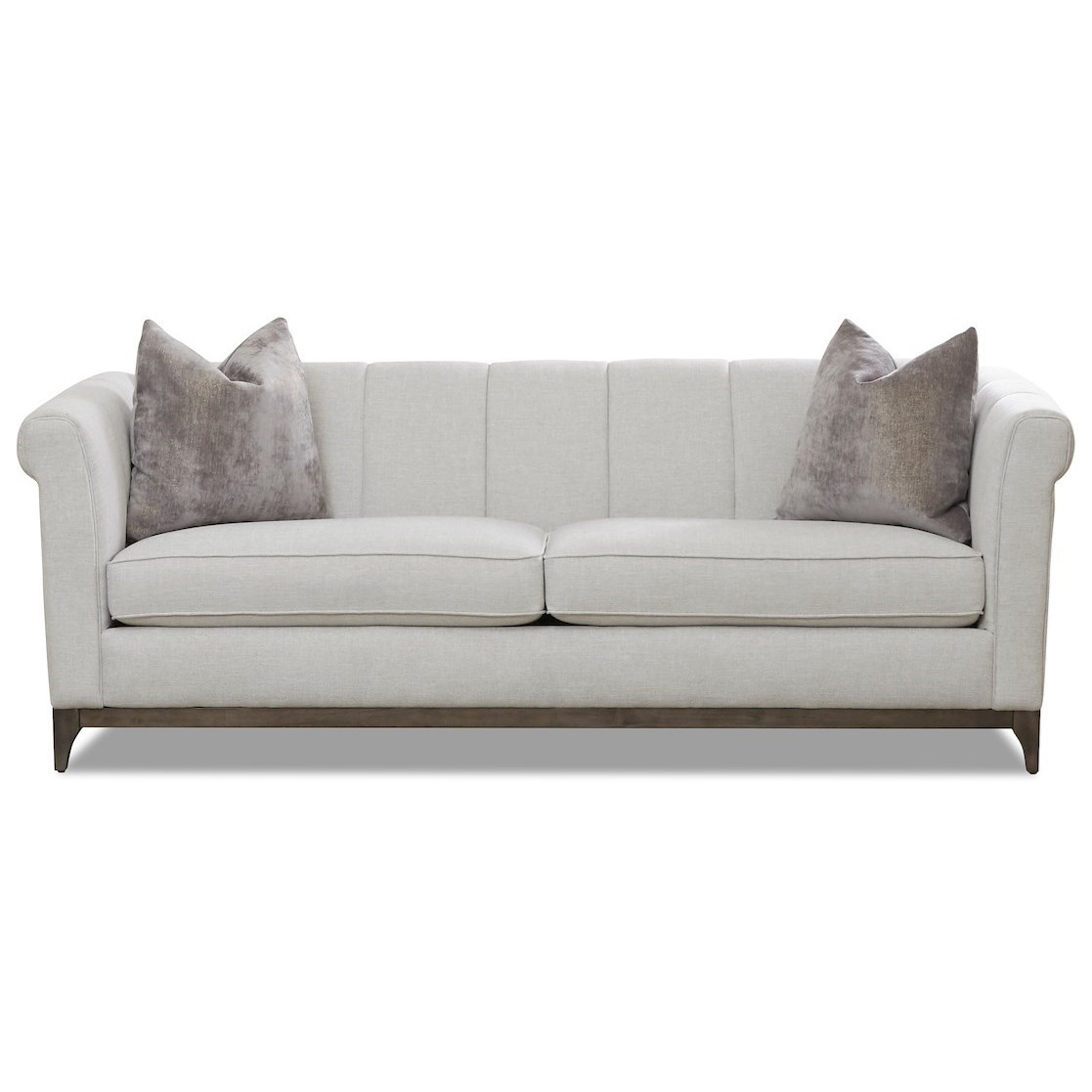 Klaussner Nigel Contemporary Tuxedo Sofa With Channel Back And Wood Base Value City Furniture Sofas