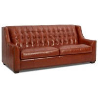 Klaussner Pennington Transitional Leather Sofa with Button ...
