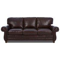 Klaussner Valiant LOT56200 S Leather Sofa with Rolled Arms ...