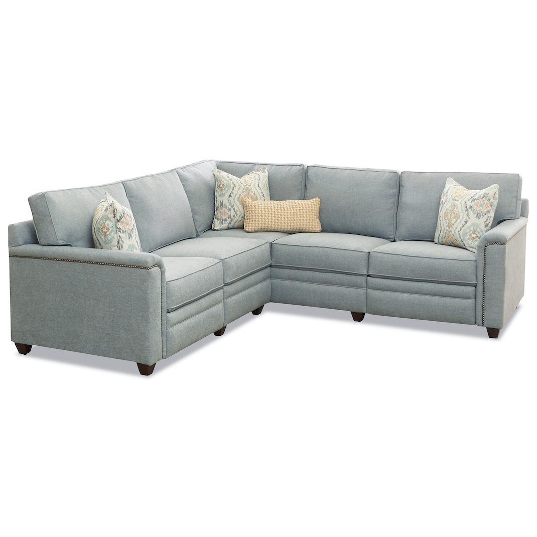 Klaussner Warrant 4 Seat Power Reclining Sectional Sofa W Laf Loveseat Value City Furniture Reclining Sectional Sofas