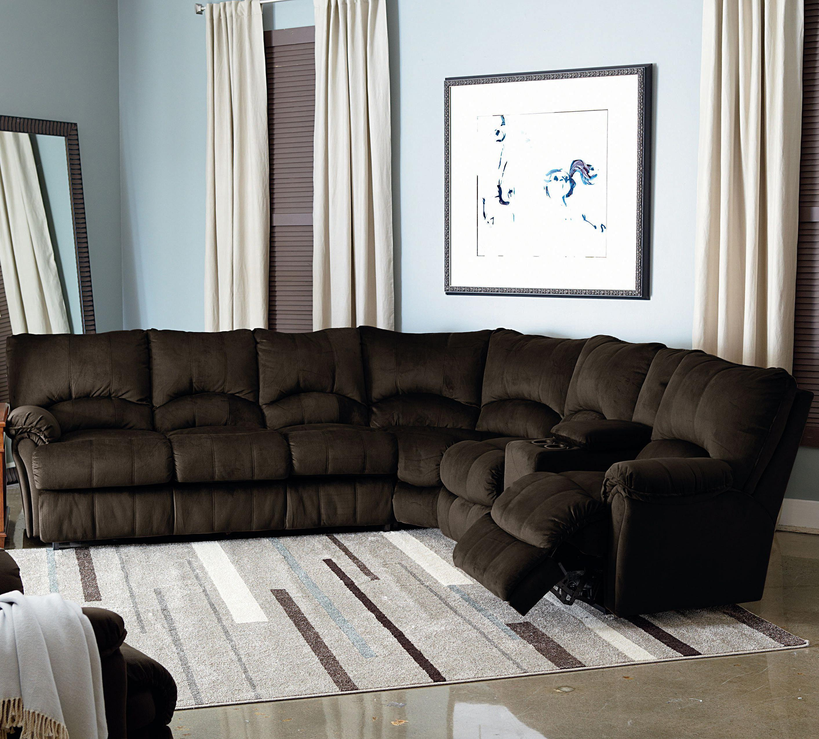 Big Sofa Back Cushions Alpine Power Reclining Sectional With Storage Console And Queen Sleeper By Lane At Rune S Furniture