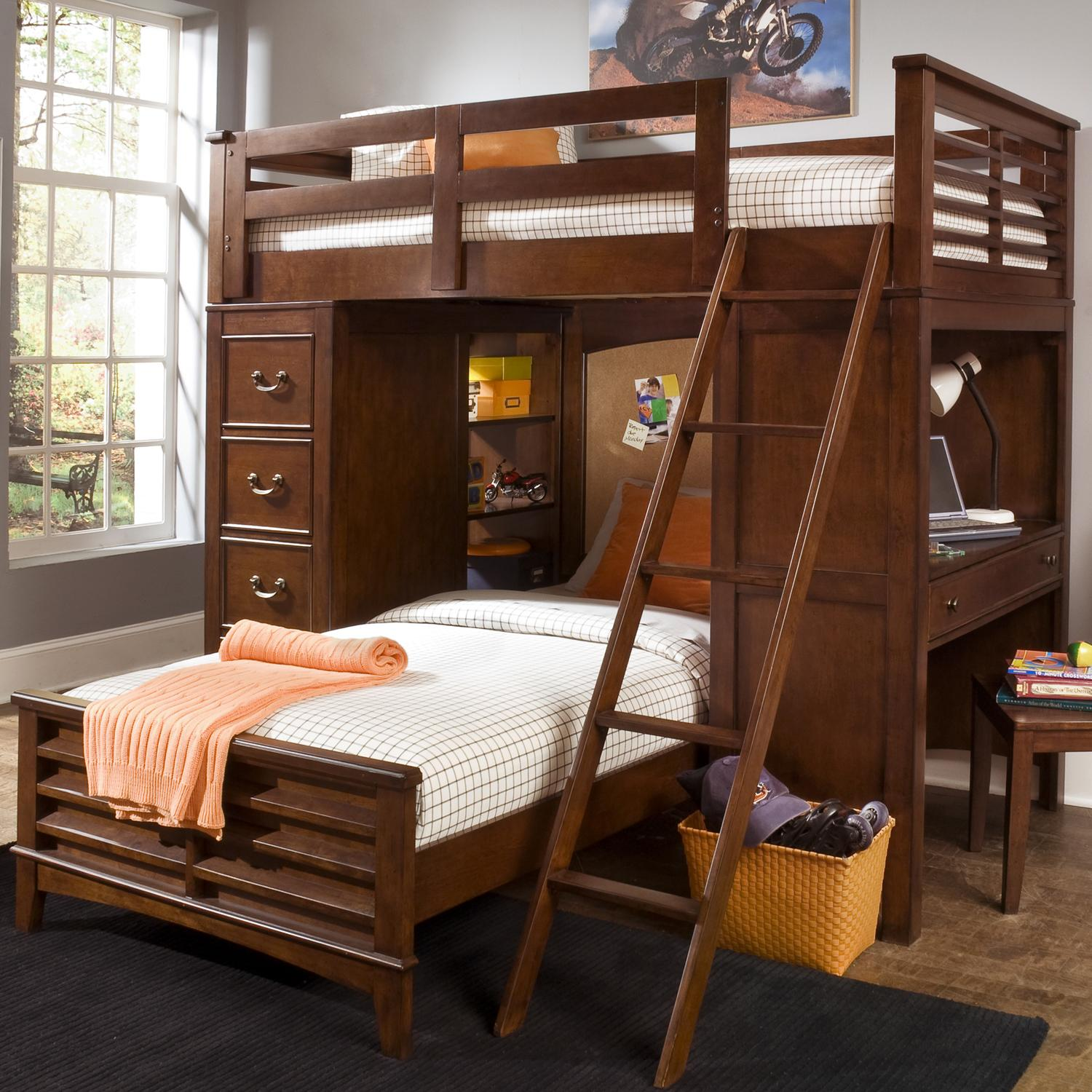 Beds And Beds Chelsea Square Youth Twin Loft Bed Unit With Built In Desk And Chest By Liberty Furniture At Royal Furniture