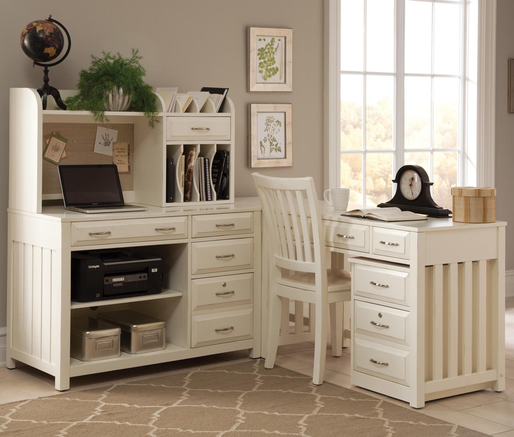 Desks With Drawers Hampton Bay White 5 Pc L Shaped Desk And File Chair Sold Seperate By Liberty Furniture At Wayside Furniture