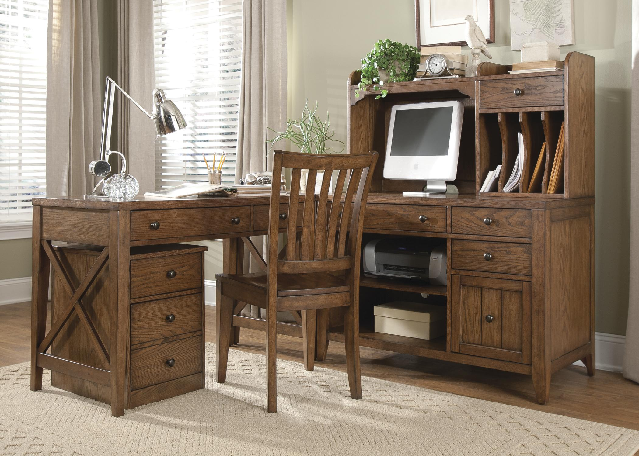 Desks With Drawers Hearthstone 5 Piece L Shaped Desk And File Cabinet Unit By Liberty Furniture At Lindy S Furniture Company