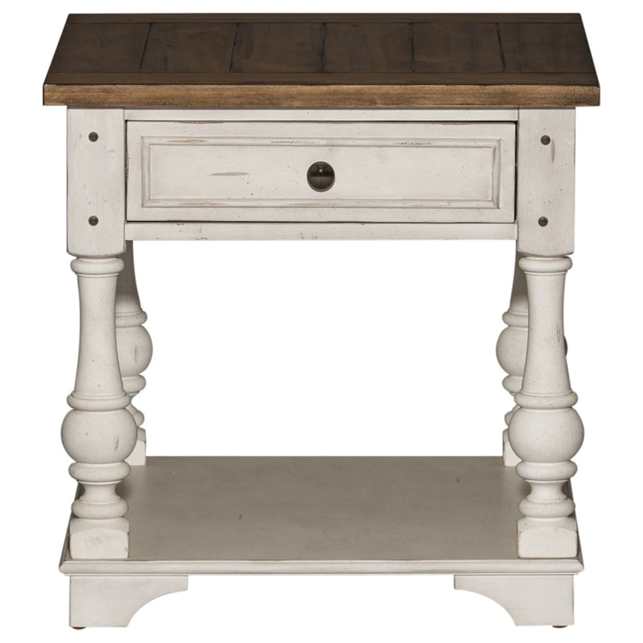 Liberty Furniture Morgan Creek Relaxed Vintage End Table With Bottom Storage Shelf Johnny Janosik End Tables