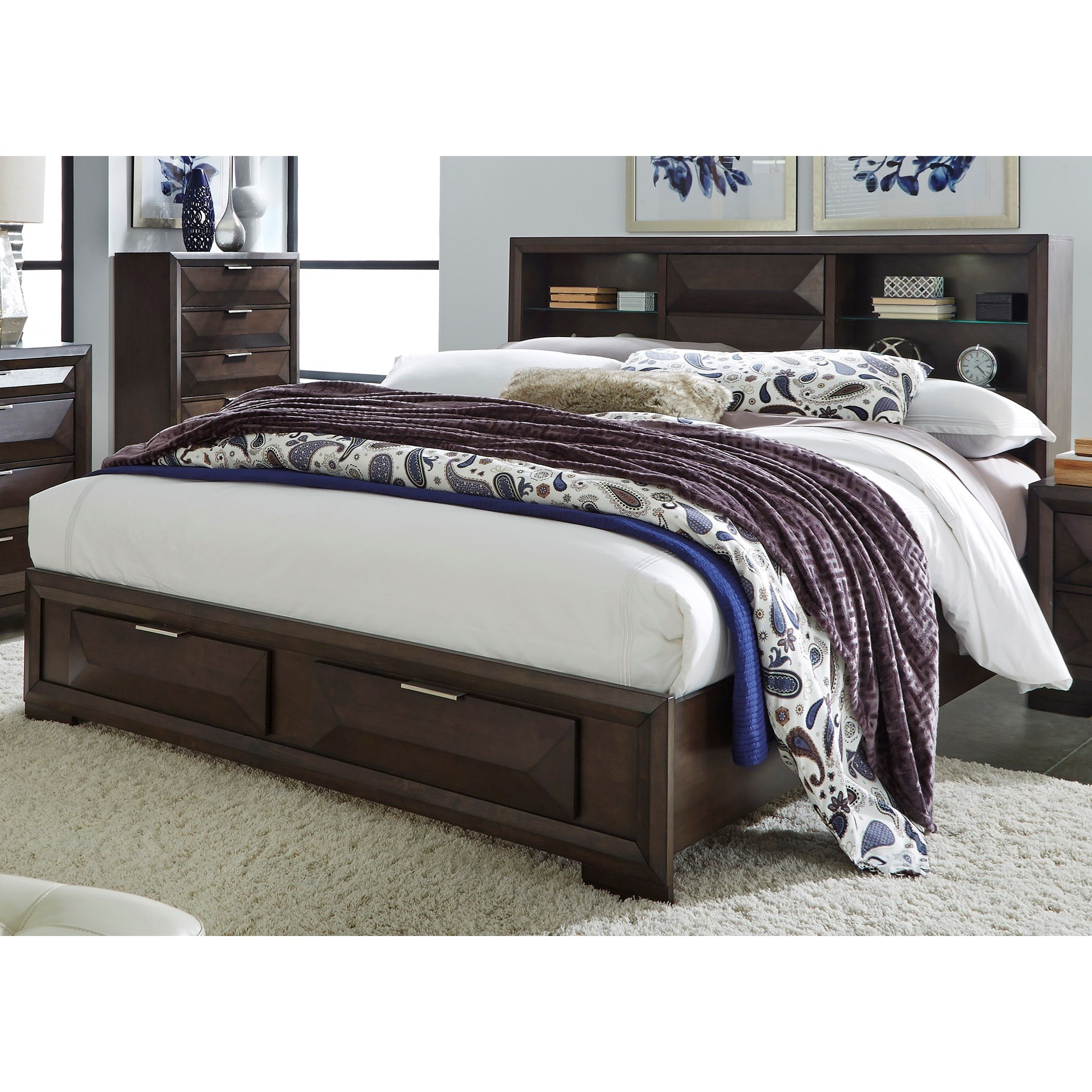 Bookcase Bed Nolan Contemporary Queen Bookcase Bed With Footboard Storage By Liberty Furniture At Rotmans