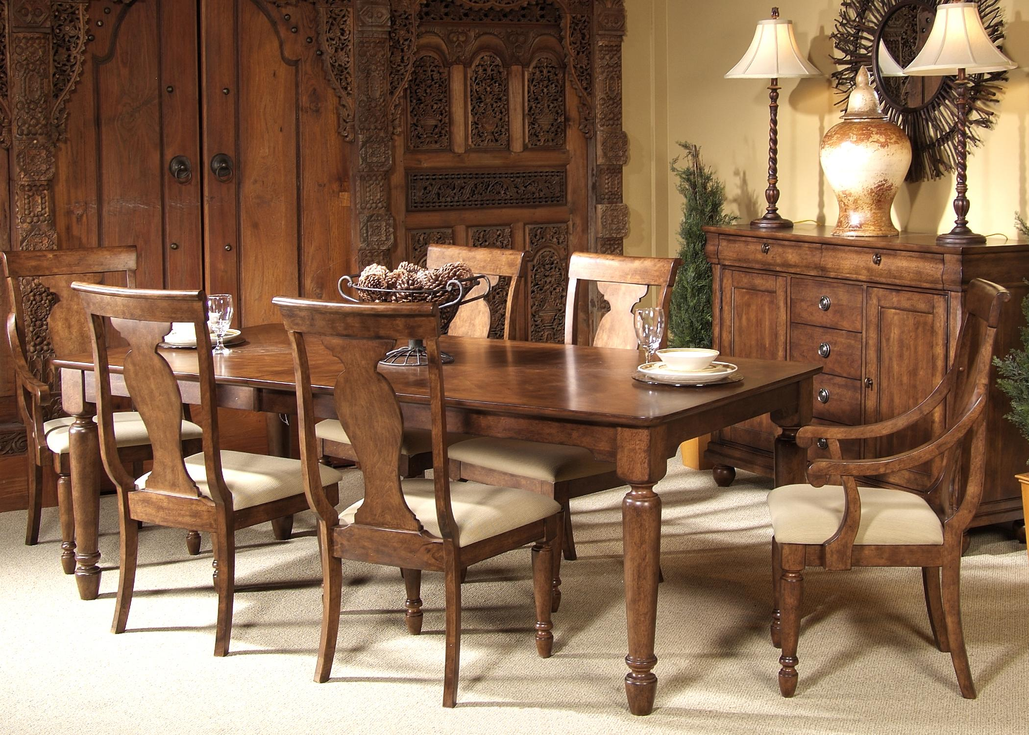 Breakfast Room Tables Rustic Traditions Seven Piece Rectangular Table And Chair Dining Set By Liberty Furniture At Wayside Furniture