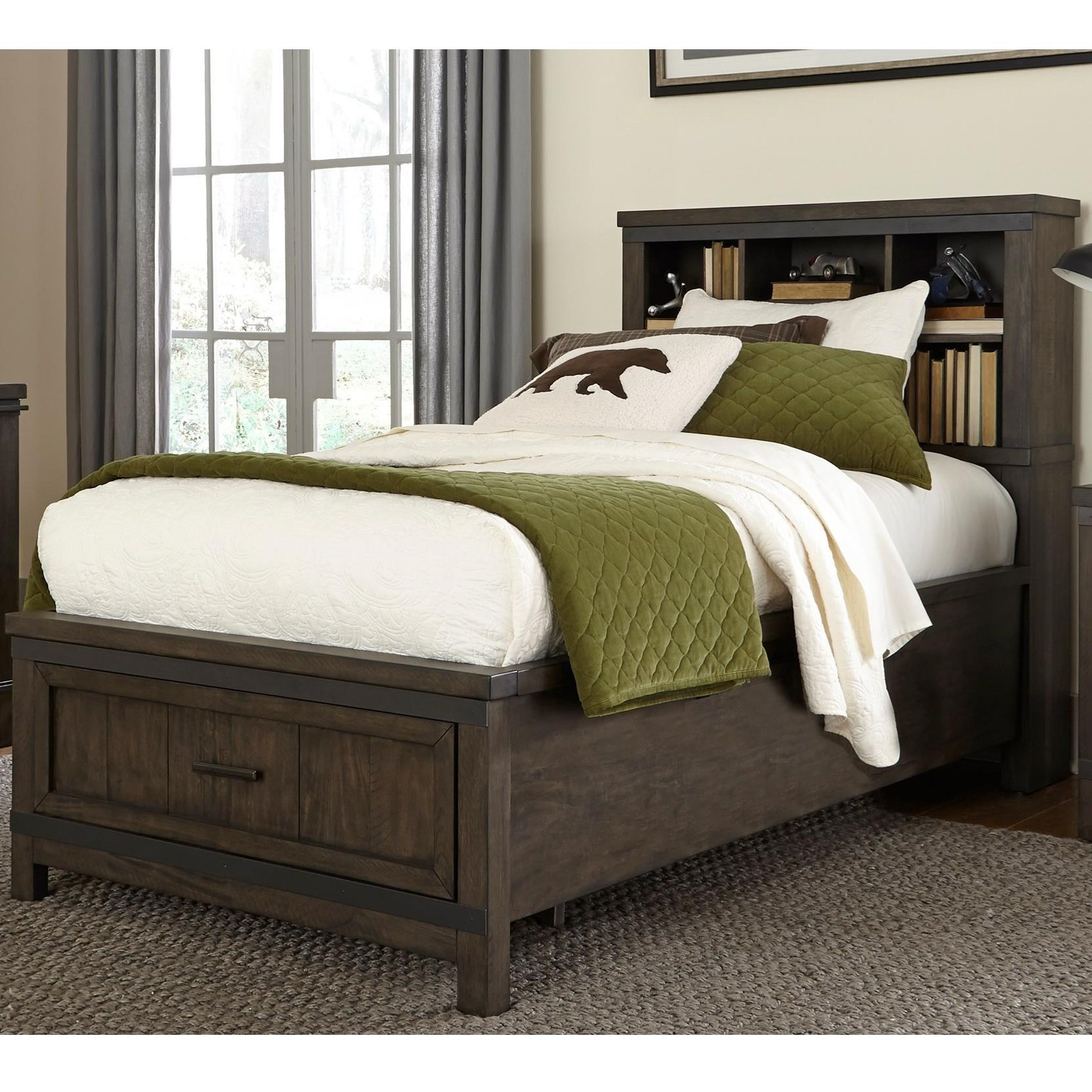 Bookcase Bed Thornwood Hills Rustic Full Bookcase Bed With Footboard Storage By Vendor 5349 At Becker Furniture World