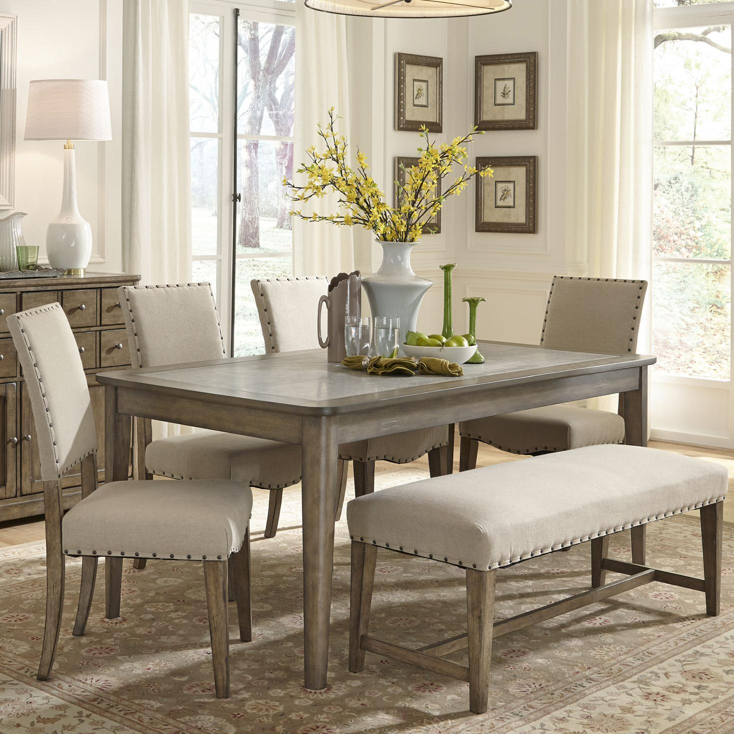 High Bench Table Liberty Furniture Weatherford Rustic Casual 6 Piece Dining