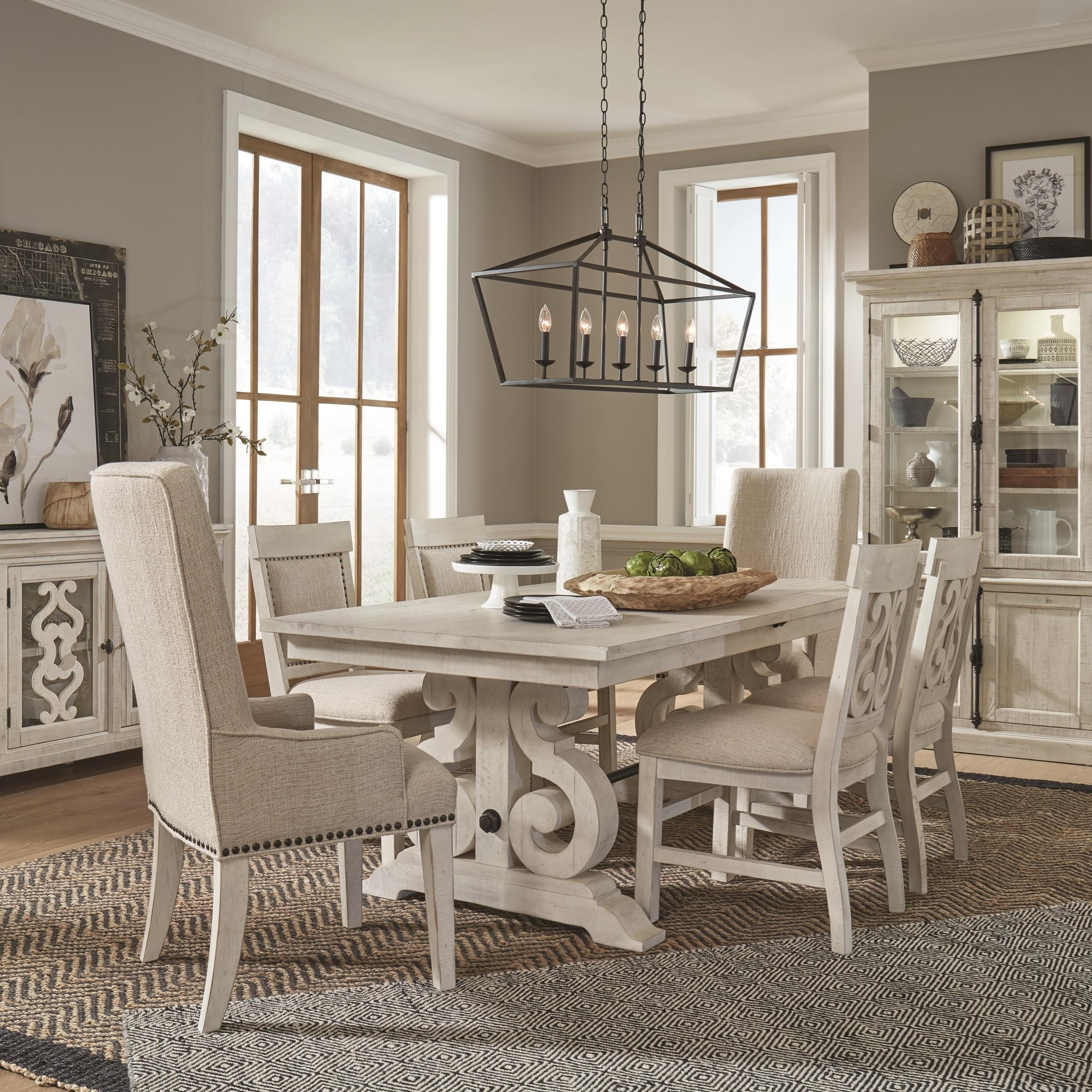Magnussen Home Bronwyn 7 Piece Farmhouse Dining Table Set With Arm Chairs Value City Furniture Dining 7 Or More Piece Sets