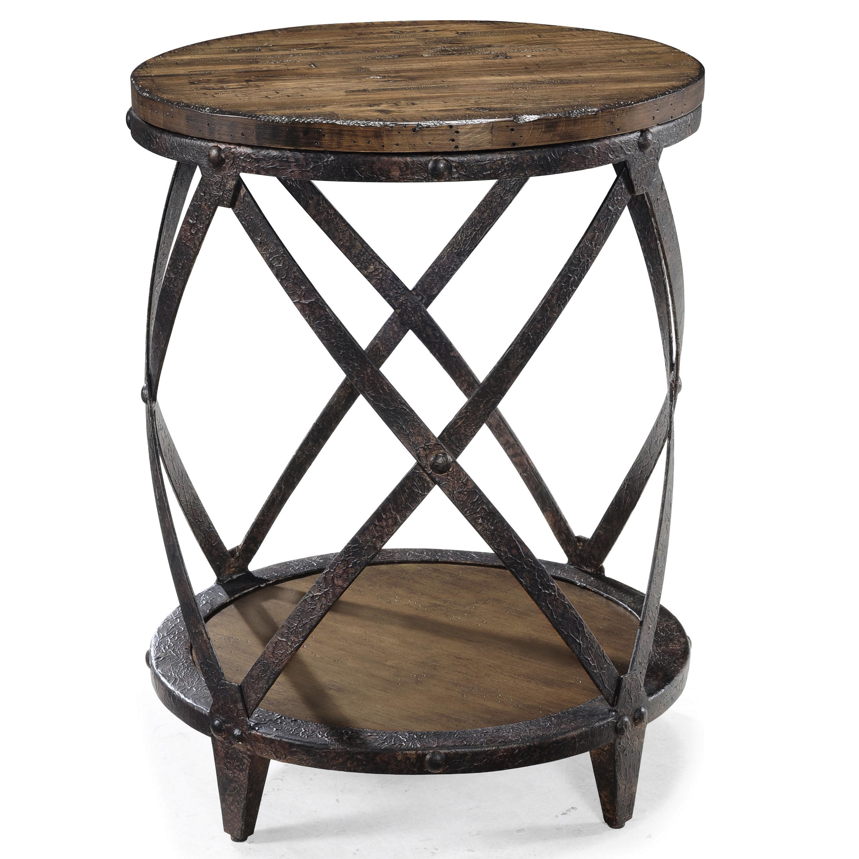 Rustic Wood End Table Pinebrook Round Accent End Table With Rustic Iron Legs By Magnussen Home At Sam Levitz Furniture