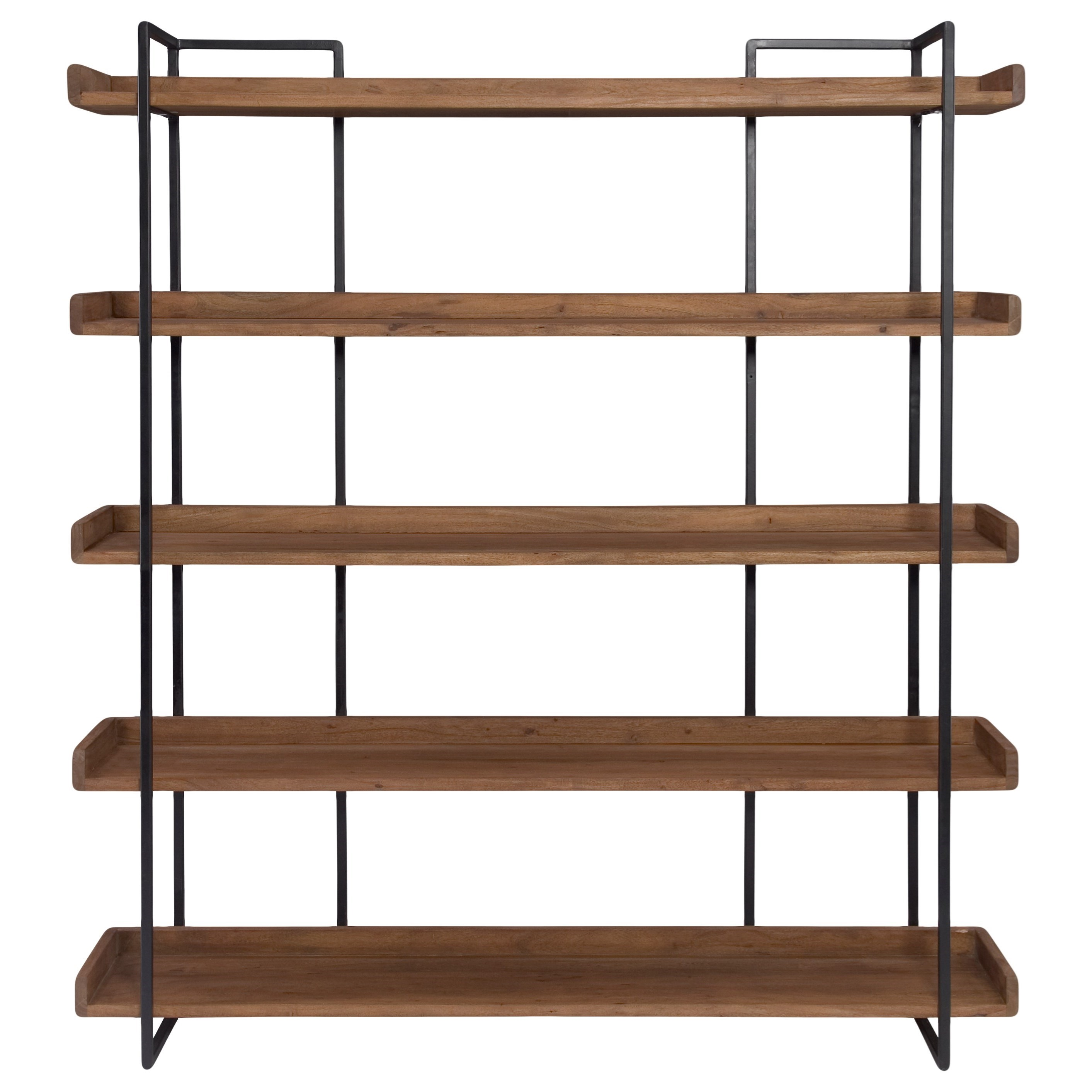 Moe S Home Collection Vancouver Industrial Large Bookshelf With Iron Frame Stoney Creek Furniture Open Bookcases