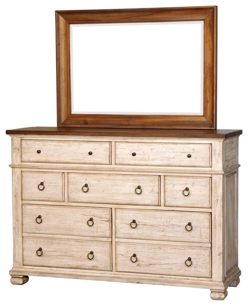 Napa Furniture Designs Belmont Relaxed Vintage Dresser With 7 Drawers And Mirror Johnny Janosik Dresser Mirror Sets