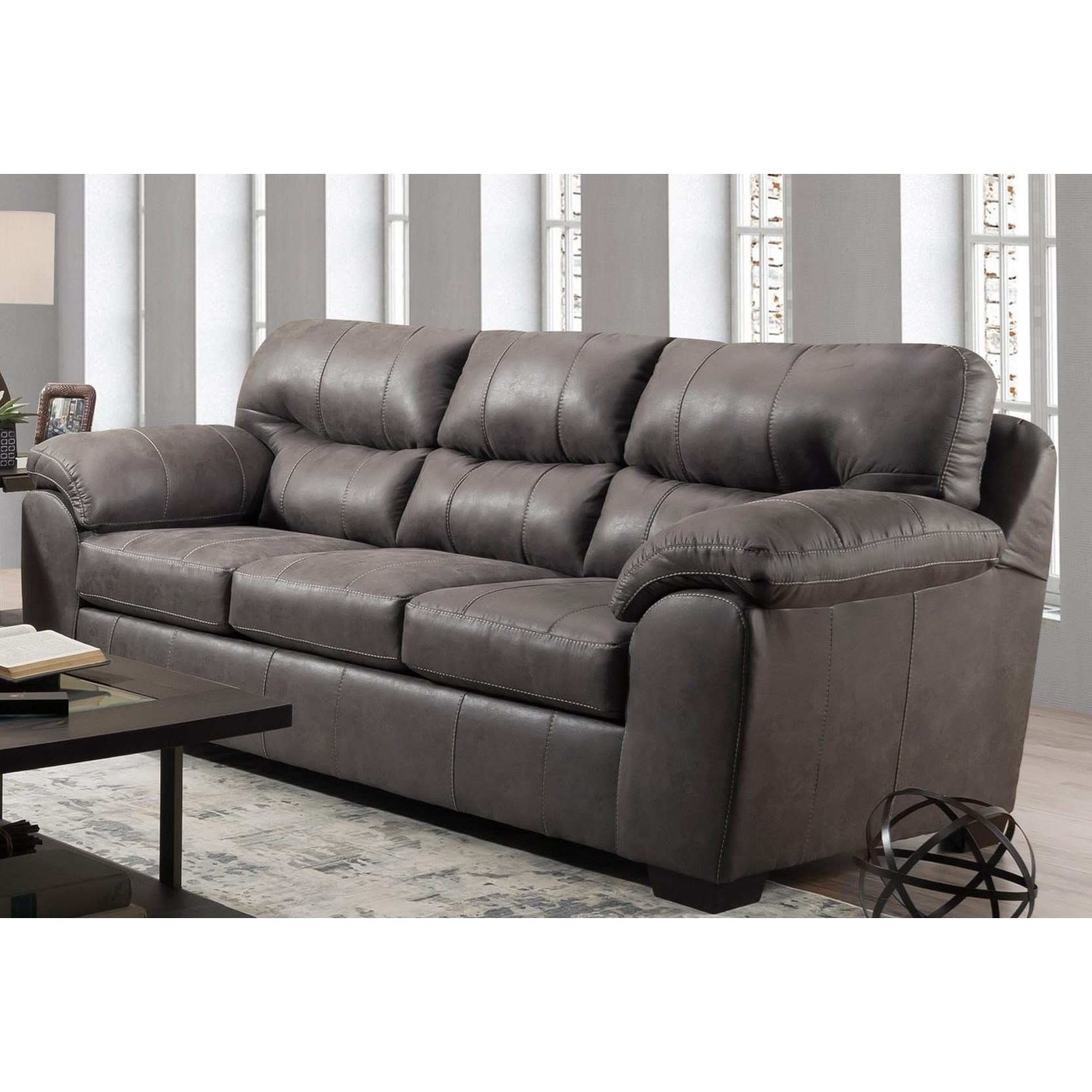 Vendor 610 1780 0180433 Casual Sofa With Pillow Arms Becker Furniture Sofas
