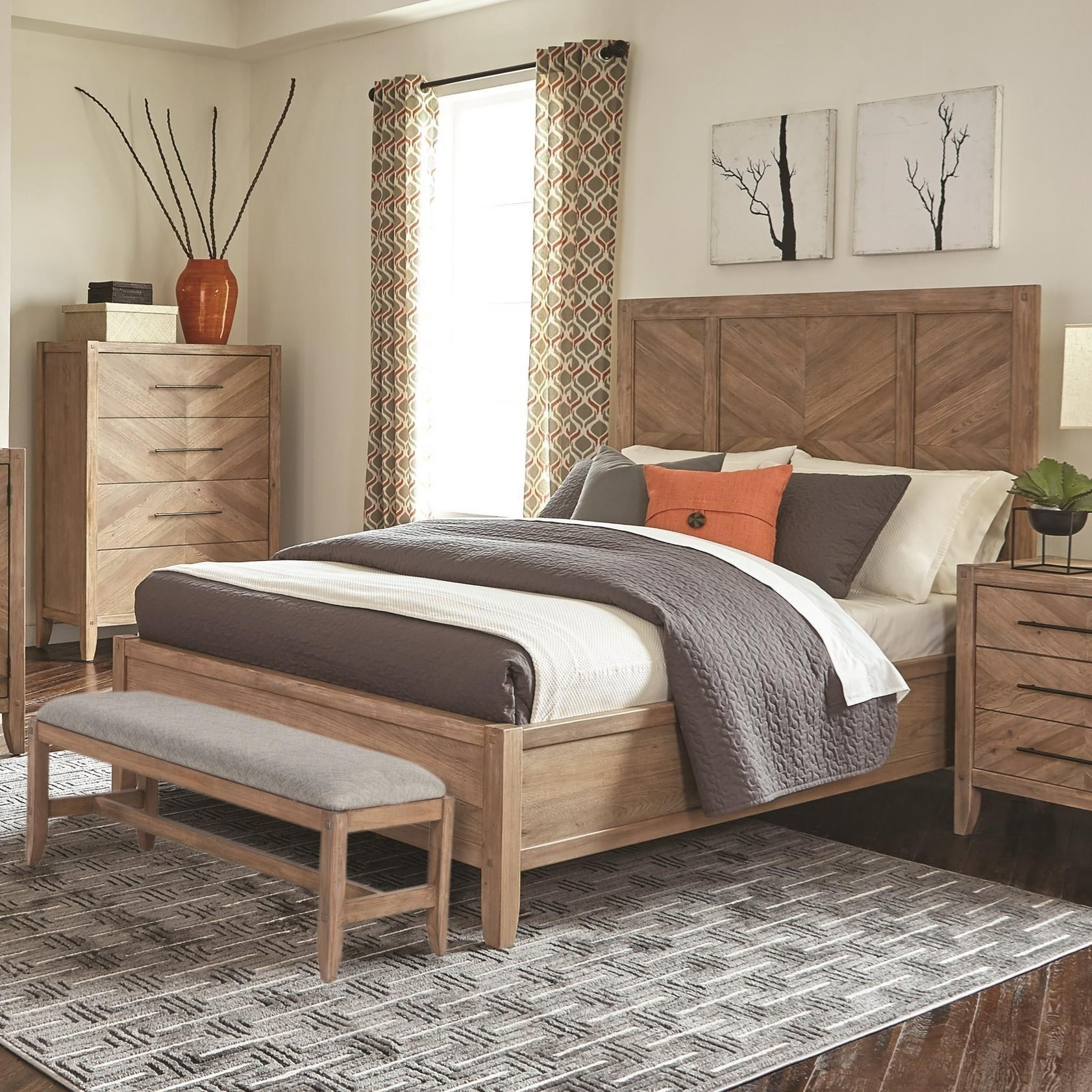 King Bed Frame Design Auburn King Bed With Chevron Inlay Design By Scott Living At Value City Furniture