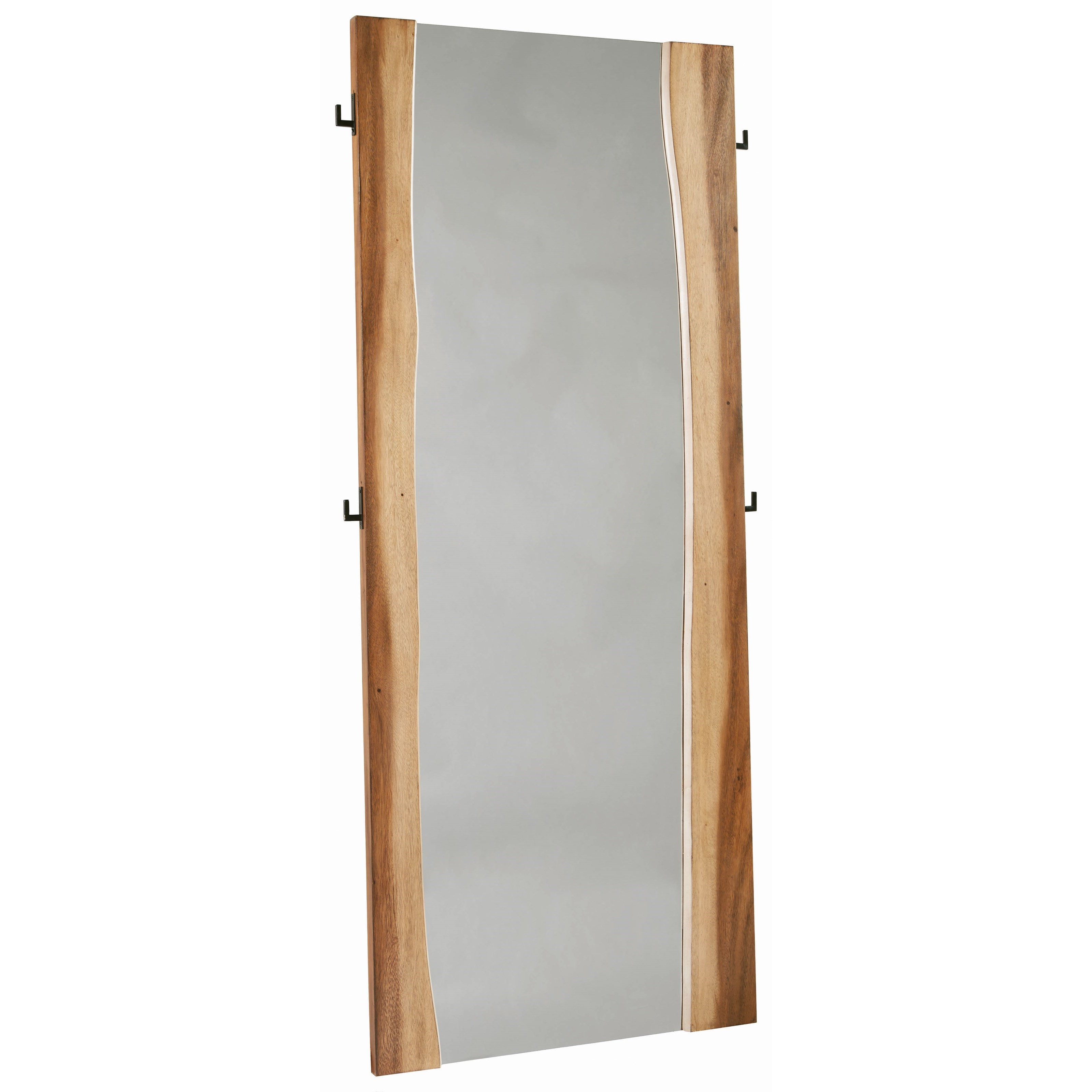 Standing Mirror Madden Rustic Full Length Standing Mirror With Coat Hooks By Scott Living At Value City Furniture
