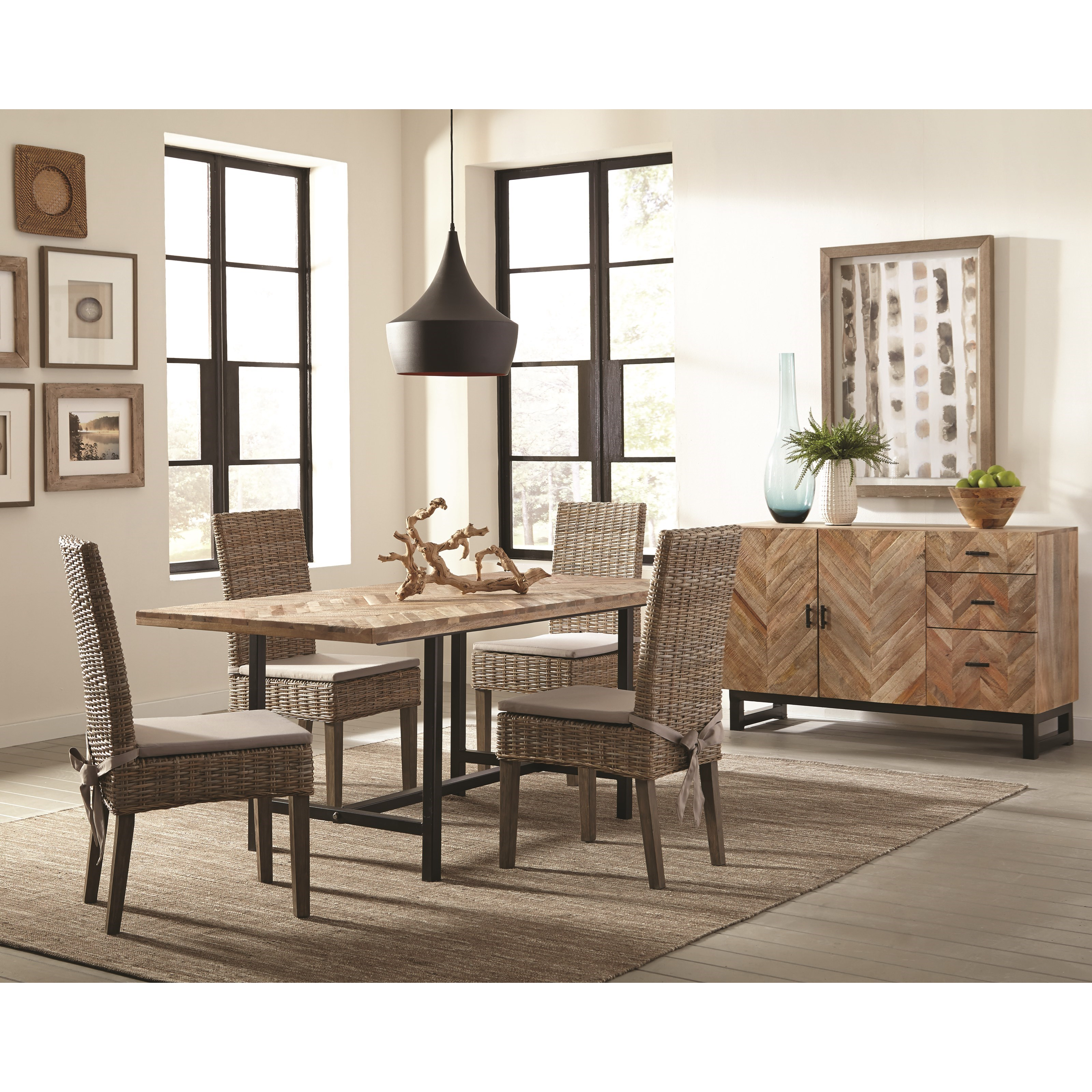 Rattan Chairs Thompson Rustic Dining Room Group With Rattan Chairs By Scott Living At Del Sol Furniture