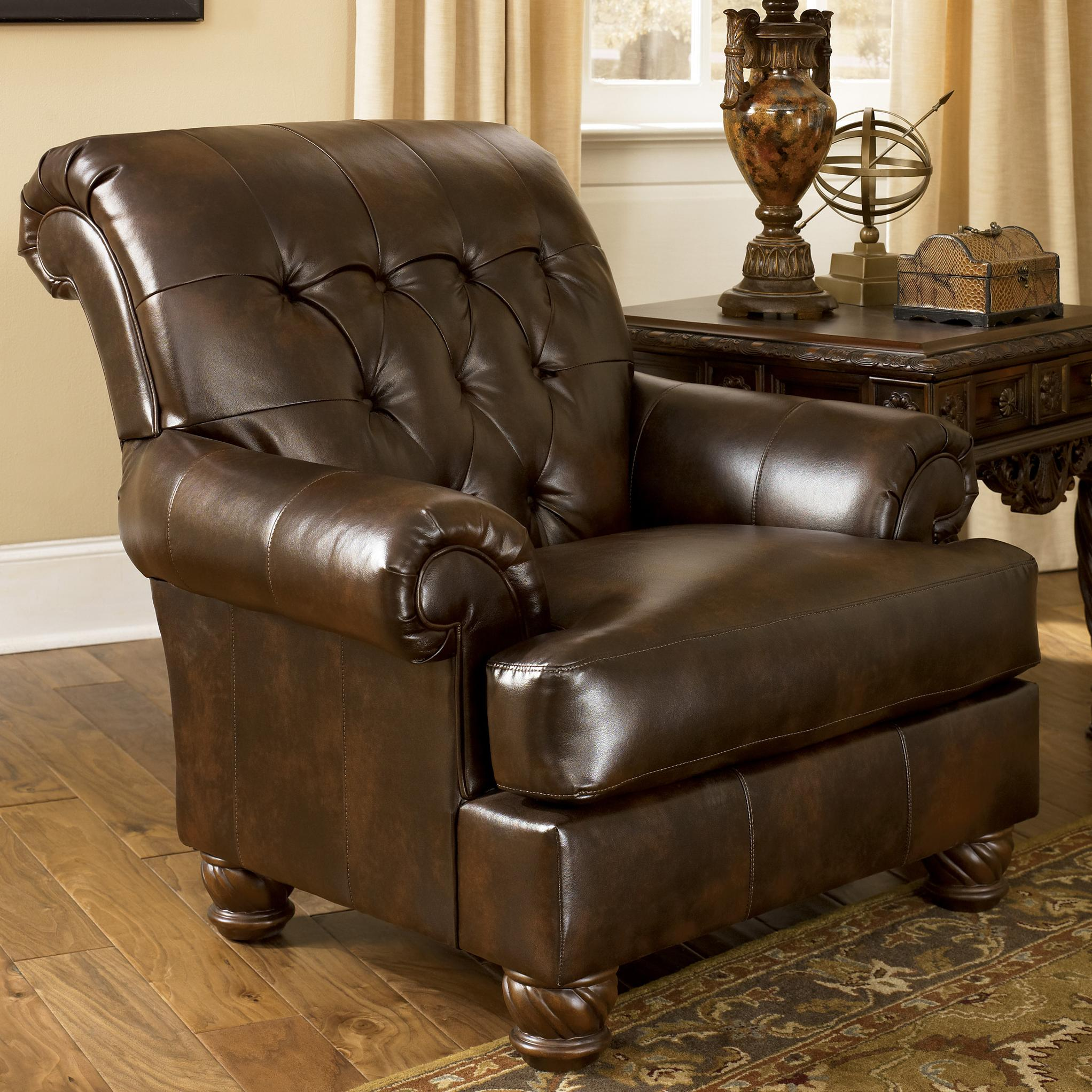 Accent Chairs To Go With Brown Leather Sofa Fresco Durablend Antique Traditional Accent Chair With Tufted Back And Bun Feet By Signature Design By Ashley At Northeast Factory Direct