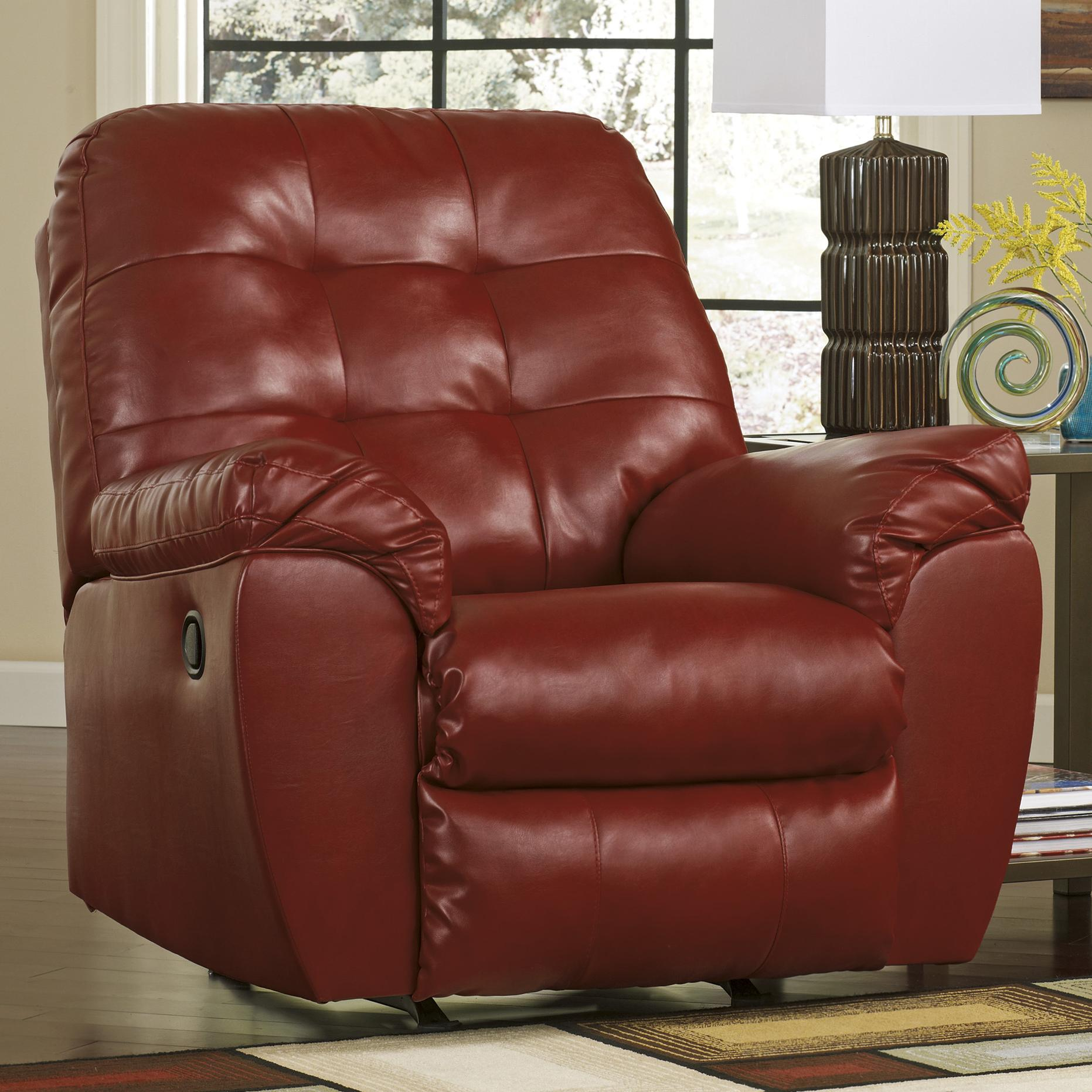 Recliner Pillow Alliston Durablend Salsa Rocker Recliner W Pillow Arms By Signature Design By Ashley At Household Furniture
