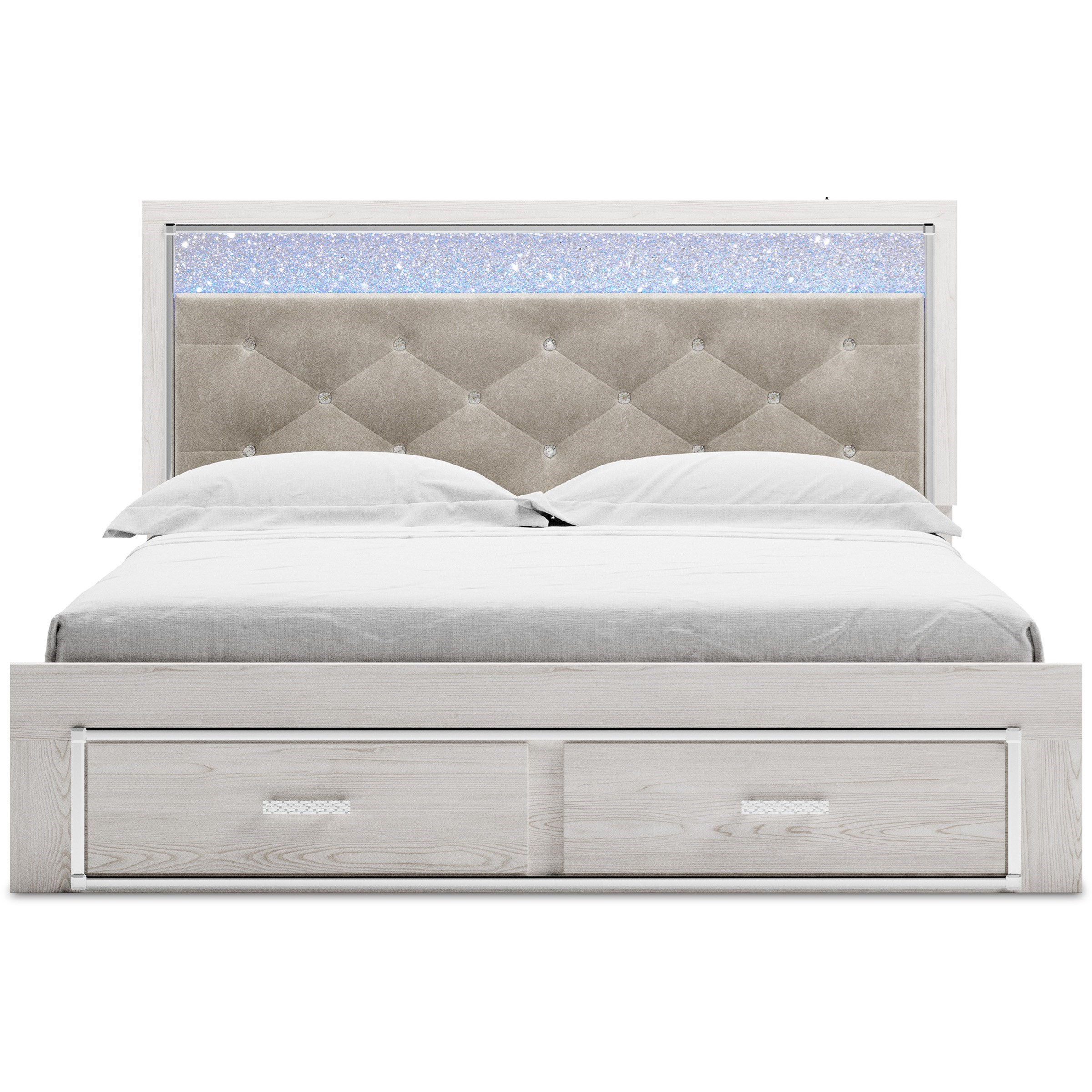 Signature Design By Ashley Altyra King Storage Bed With Upholstered Headboard Houston S Yuma Furniture Upholstered Beds