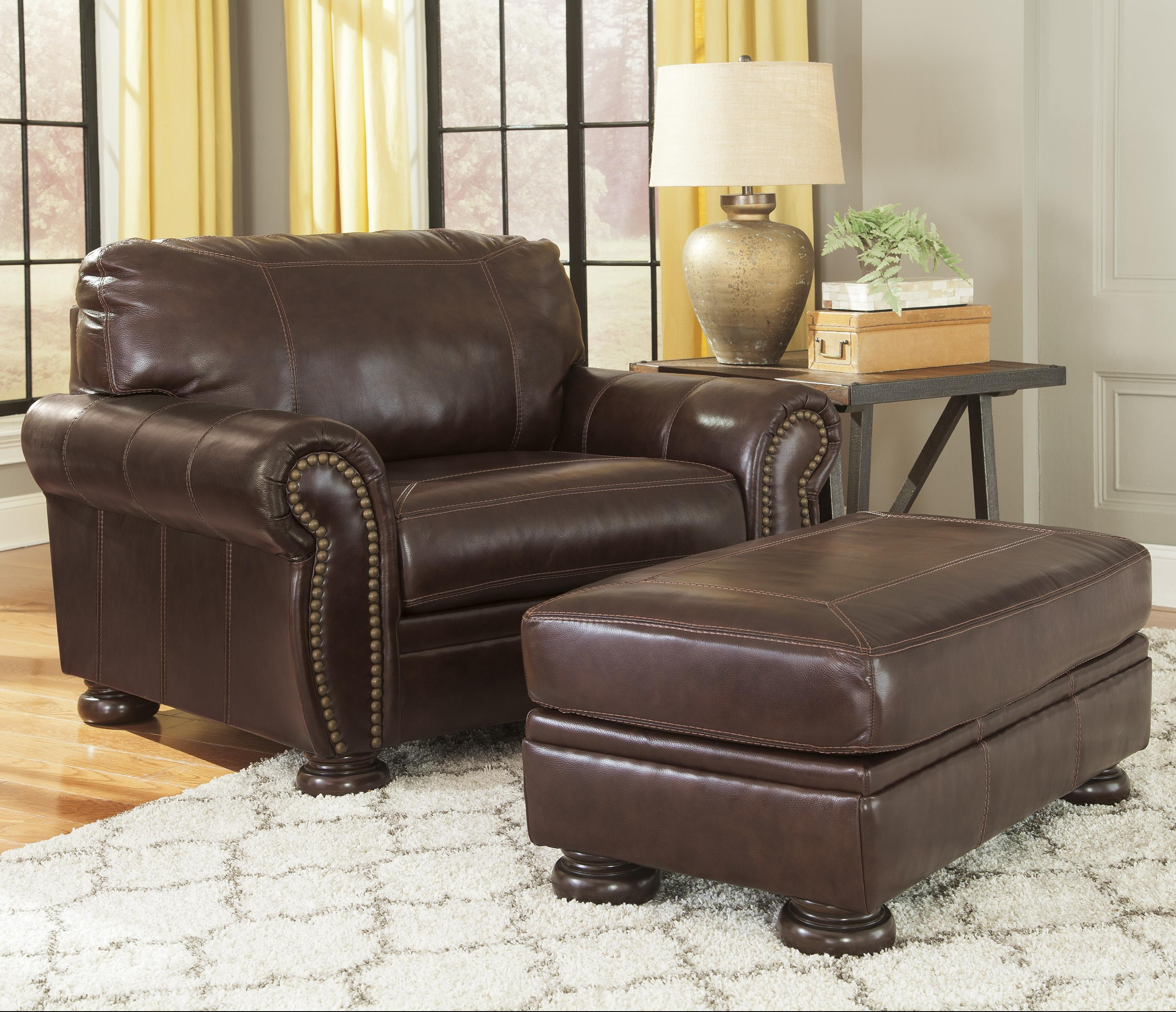Ashley Furniture Signature Design Banner 5040423 14 Traditional Leather Match Chair And A Half Ottoman Del Sol Furniture Chair Ottoman Sets