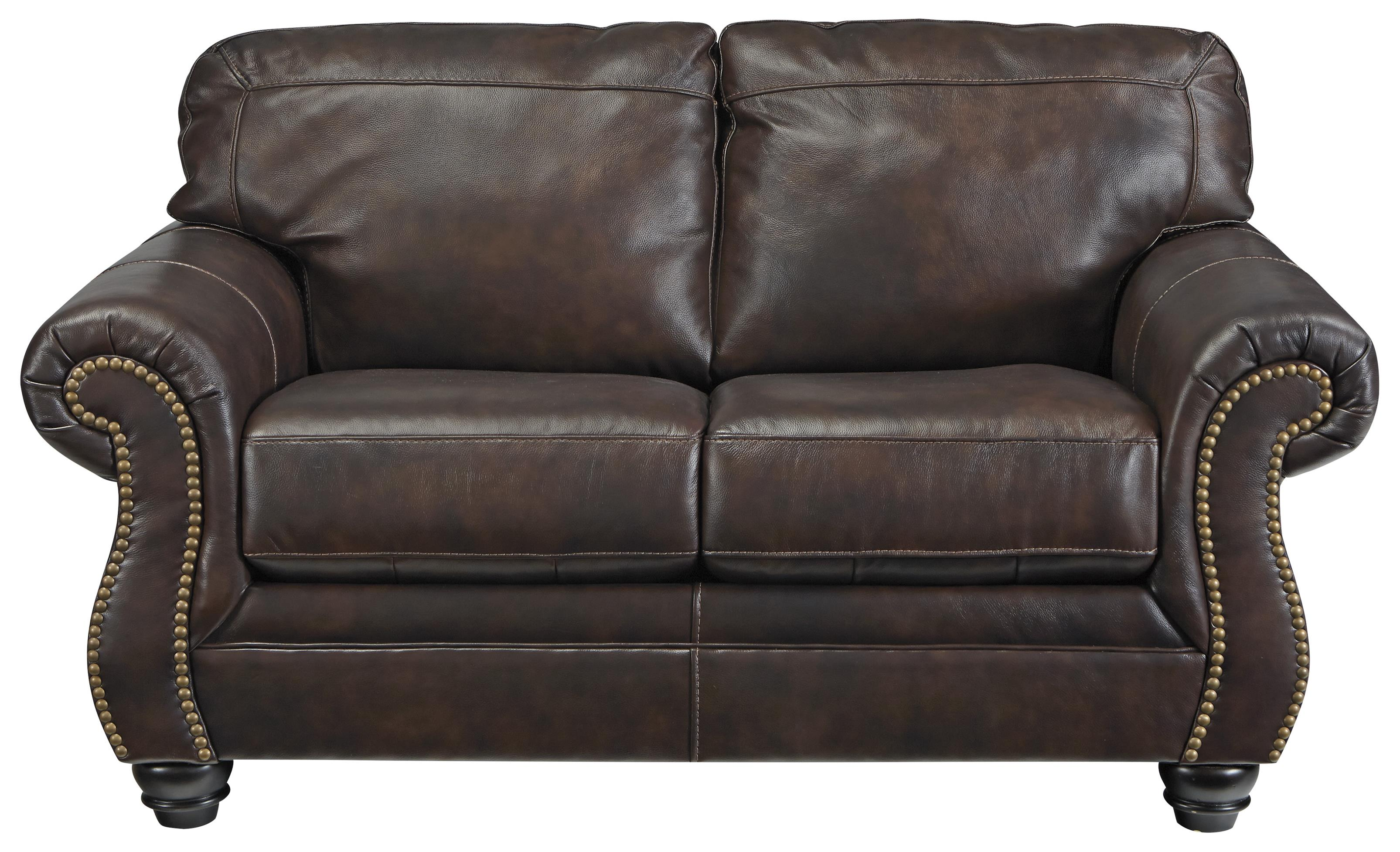 Sofa Brisbane Brisbane Traditional Leather Match Loveseat With Rolled Arms Nailhead Trim By Signature Design By Ashley At Rotmans