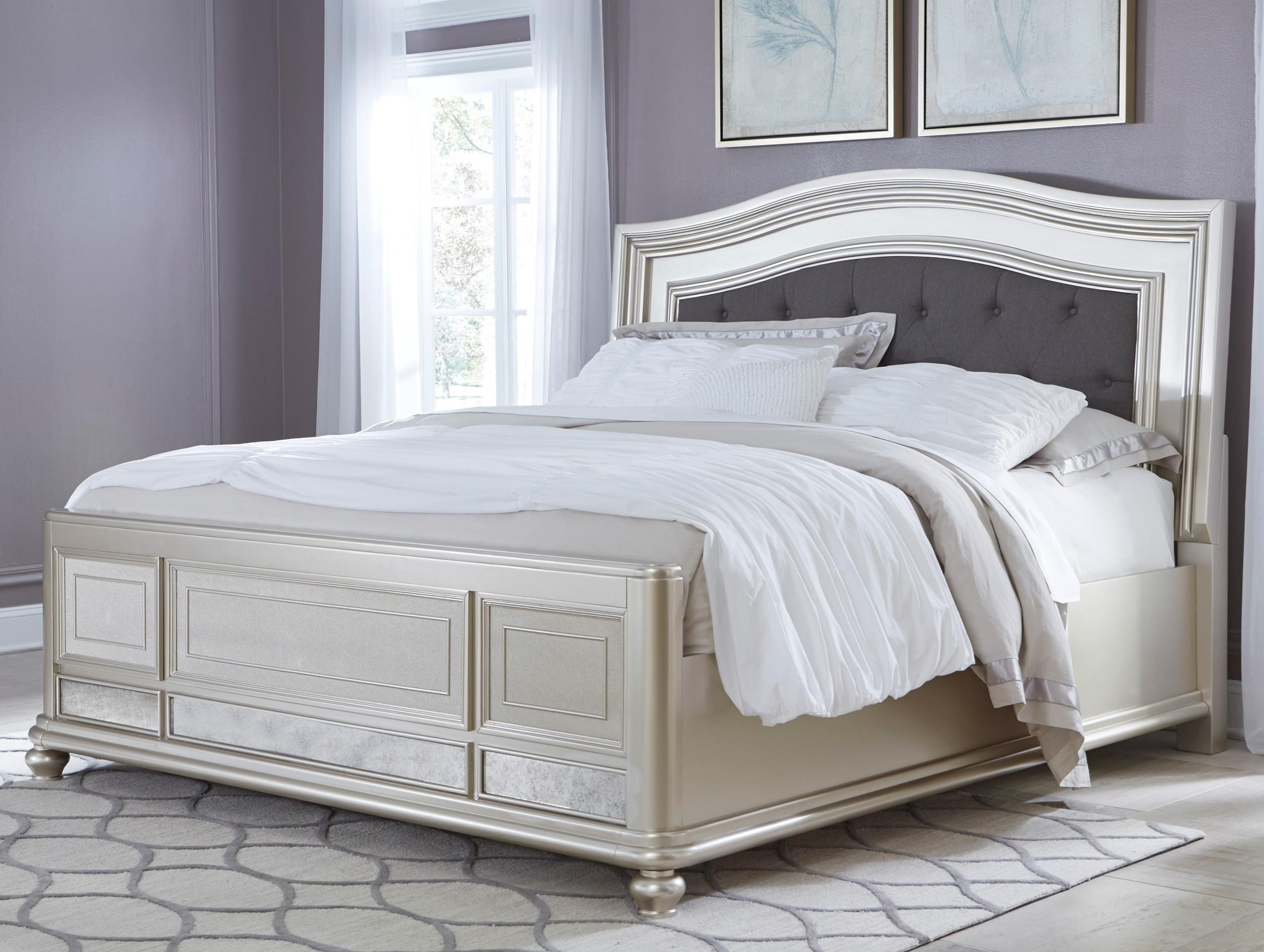Bed Headboard Coralayne King Panel Bed With Arched Upholstered Headboard And Silver Finish Frame By Signature Design By Ashley At Sam Levitz Furniture