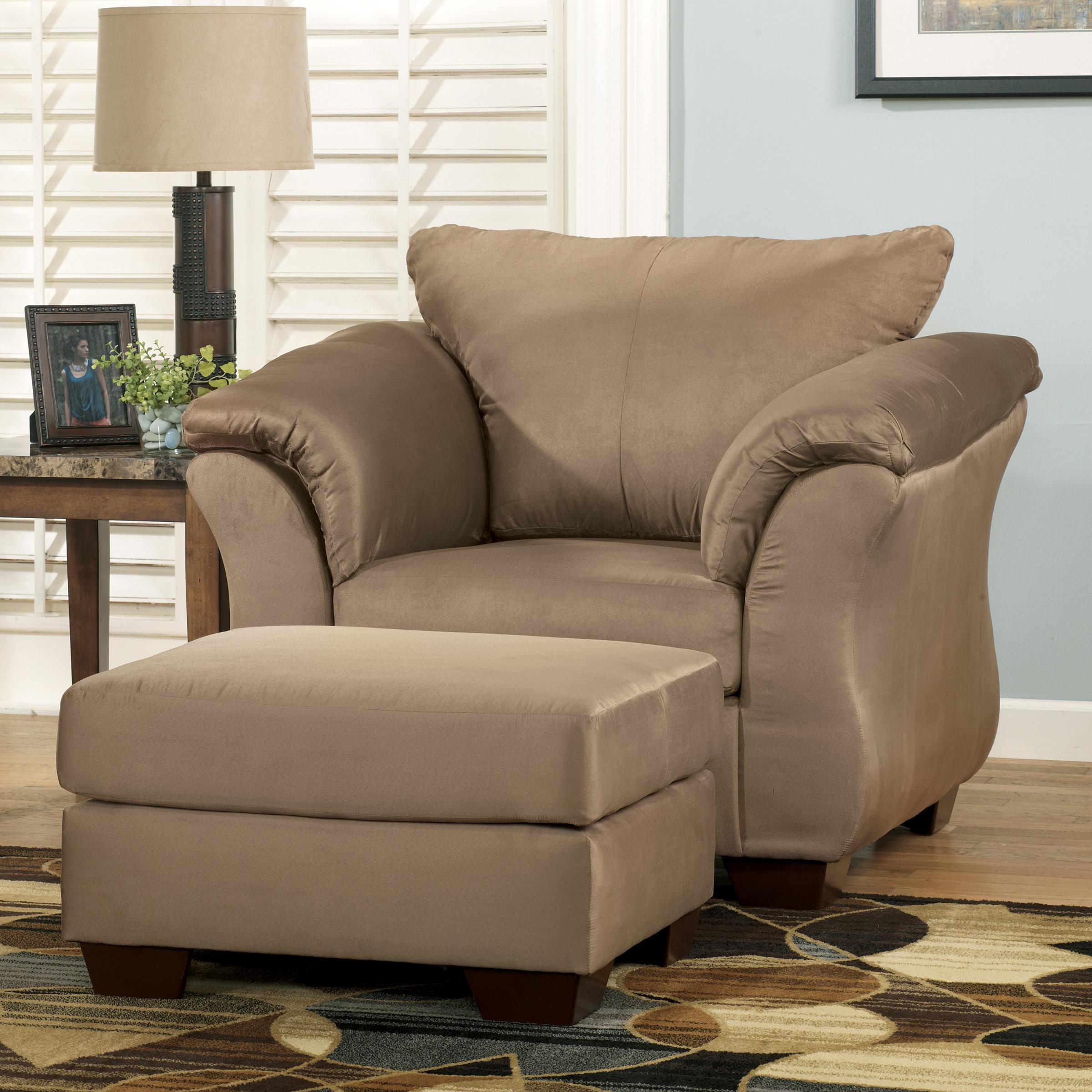 Signature Design By Ashley Darcy Mocha Contemporary Upholstered Chair And Ottoman With Tapered Legs Standard Furniture Chair Ottoman Sets