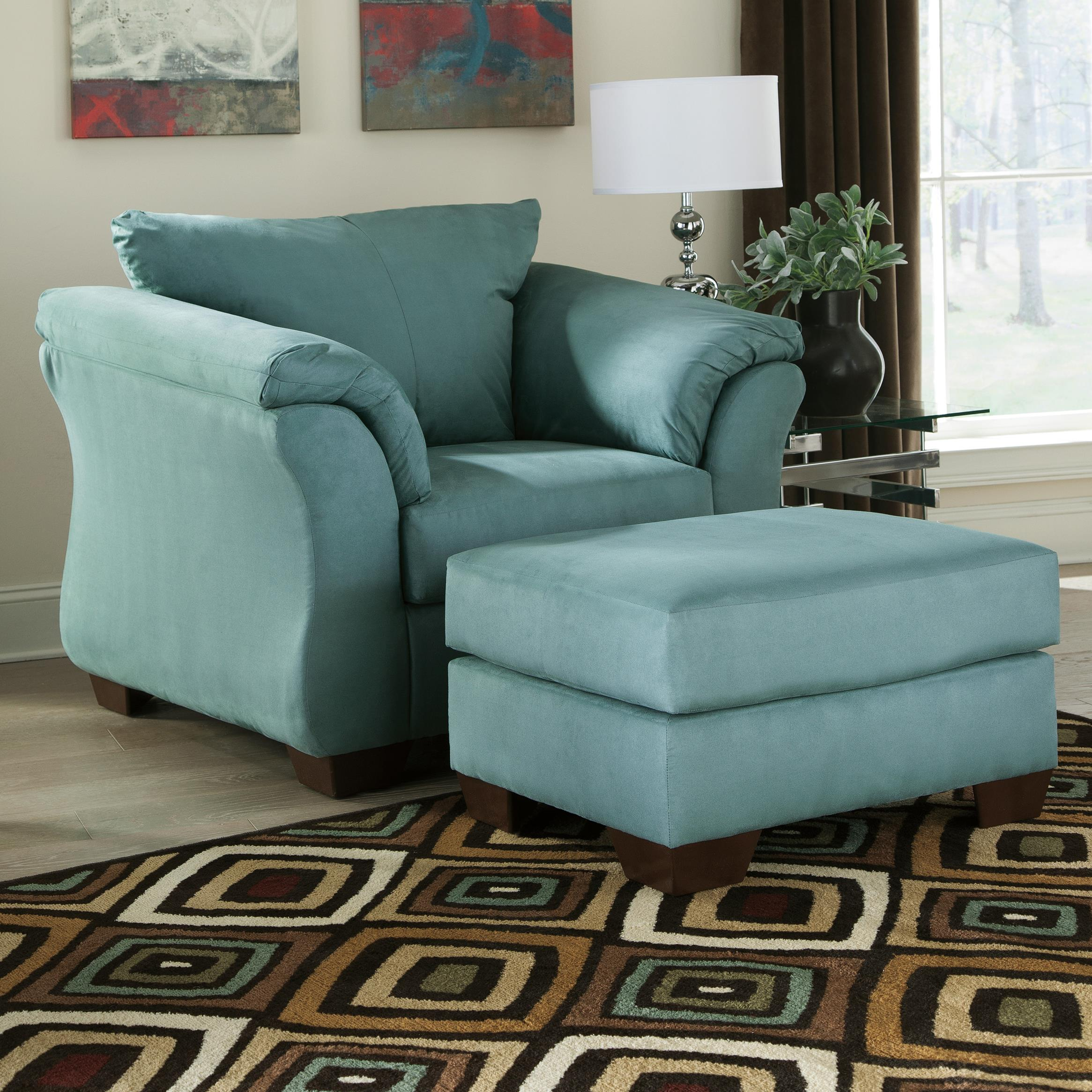 Signature Design By Ashley Darcy Sky Contemporary Upholstered Chair And Ottoman With Tapered Legs Wayside Furniture Chair Ottoman Sets