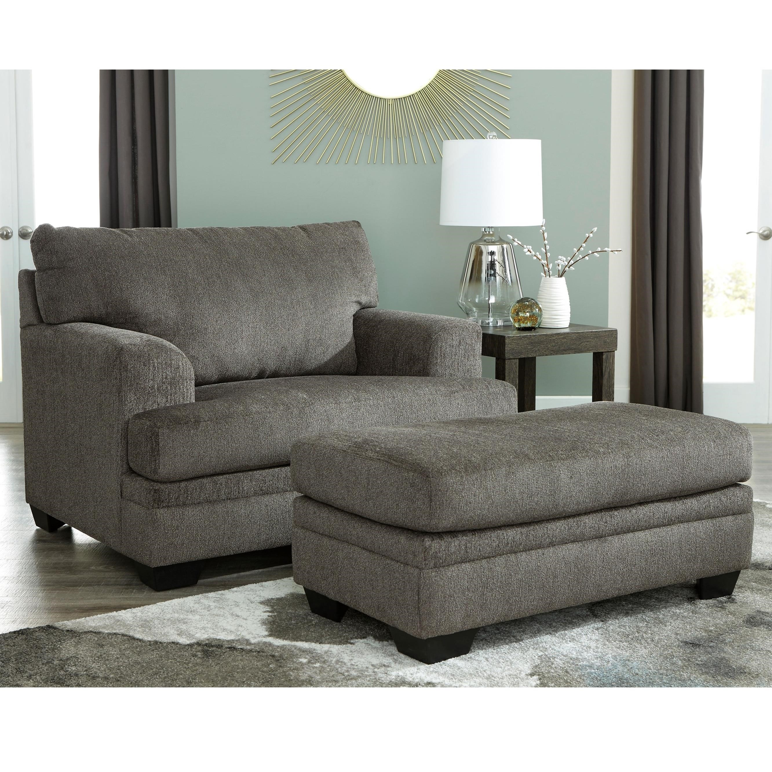 Chair Ottoman Dorsten Contemporary Chair And A Half With Ottoman By Signature Design By Ashley At Royal Furniture