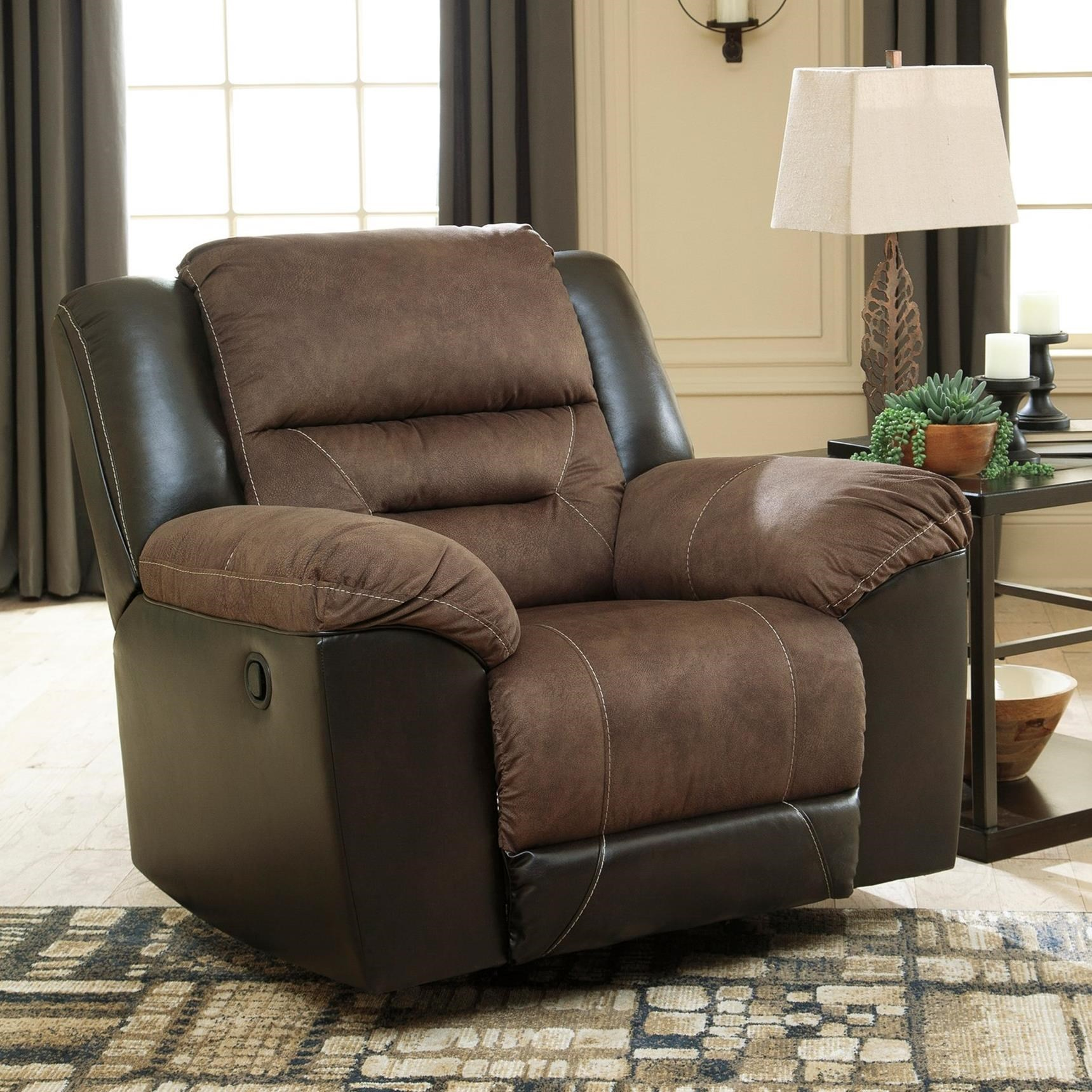 Recliner Pillow Earhart Casual Rocker Recliner With Pillow Arms By Ashley Signature Design At Rooms And Rest