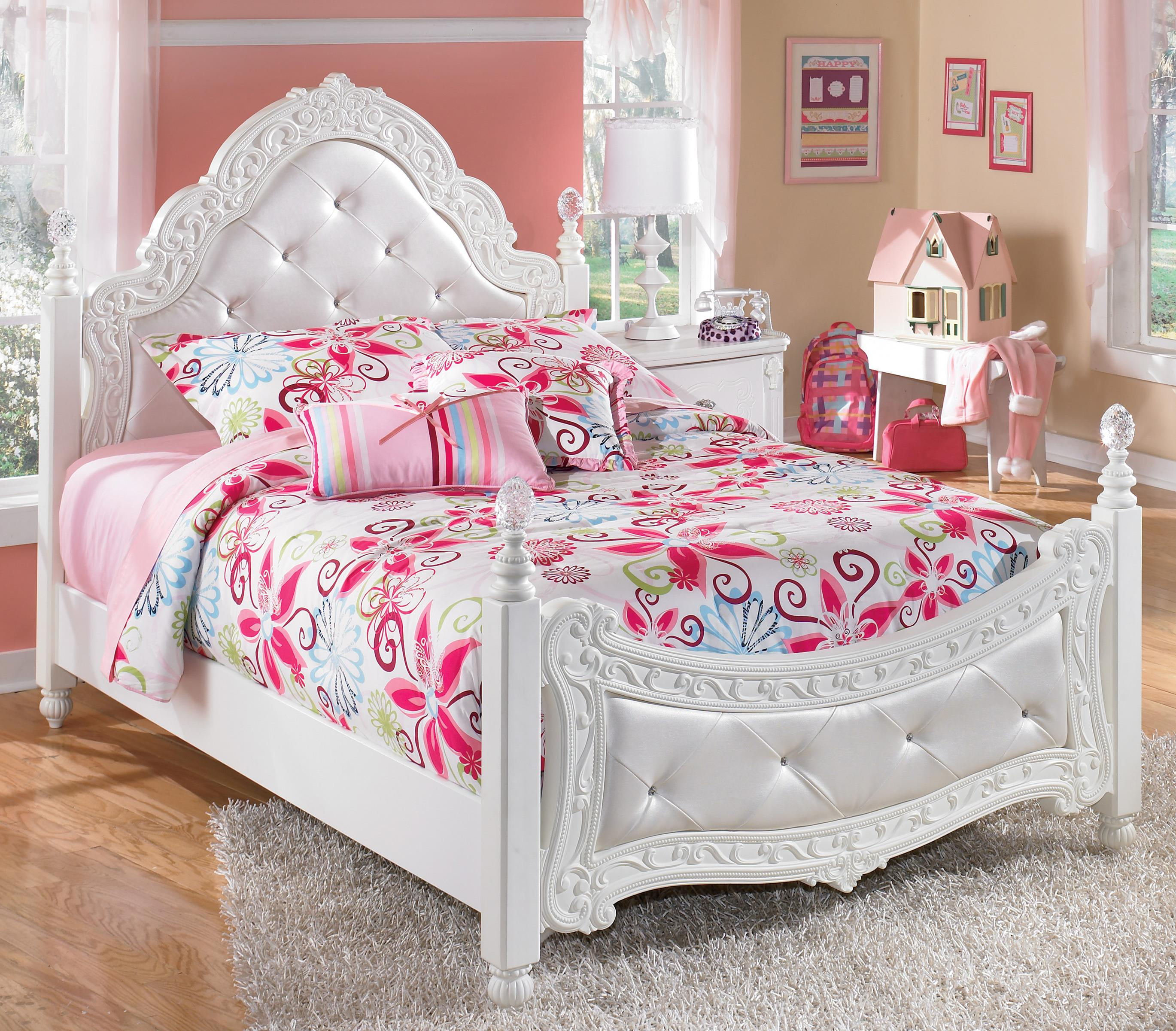 Ashley Furniture Signature Design Exquisite B188 72 89 Full Ornate Poster Bed With Tufted Headboard Footboard Del Sol Furniture Upholstered Beds