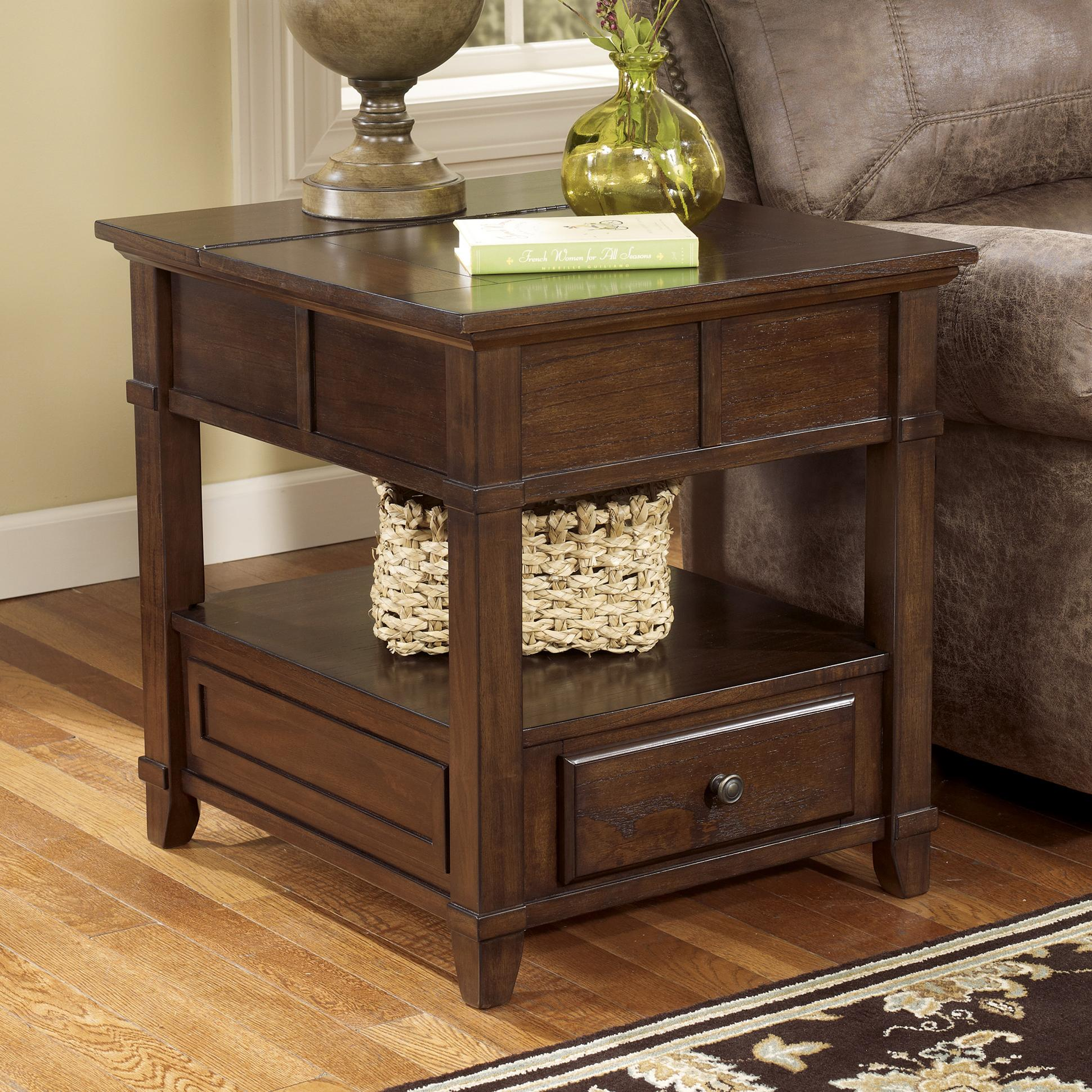 Coffee And End Tables With Storage Gately End Table With Hidden Storage Electrical Outlet By Signature Design By Ashley At Northeast Factory Direct