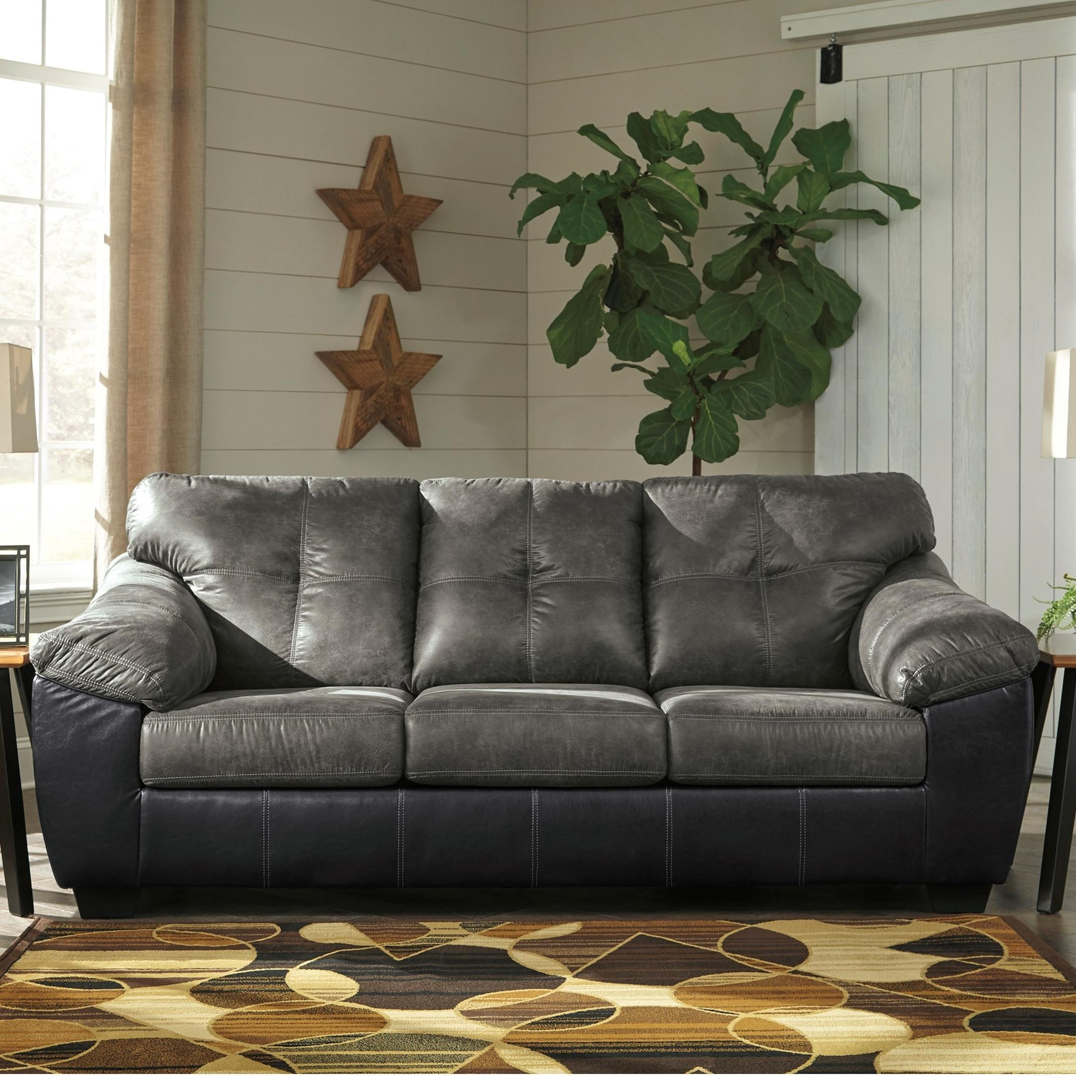 Sofa Queen Gregale Two Tone Faux Leather Queen Sofa Sleeper With Memory Foam Mattress By Signature Design By Ashley At Prime Brothers Furniture