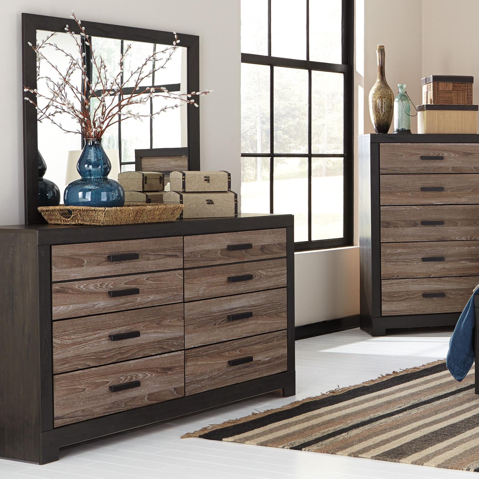 Black Bedroom Suite Harlinton Rustic Two Tone Dresser Bedroom Mirror By Signature Design By Ashley At Wayside Furniture
