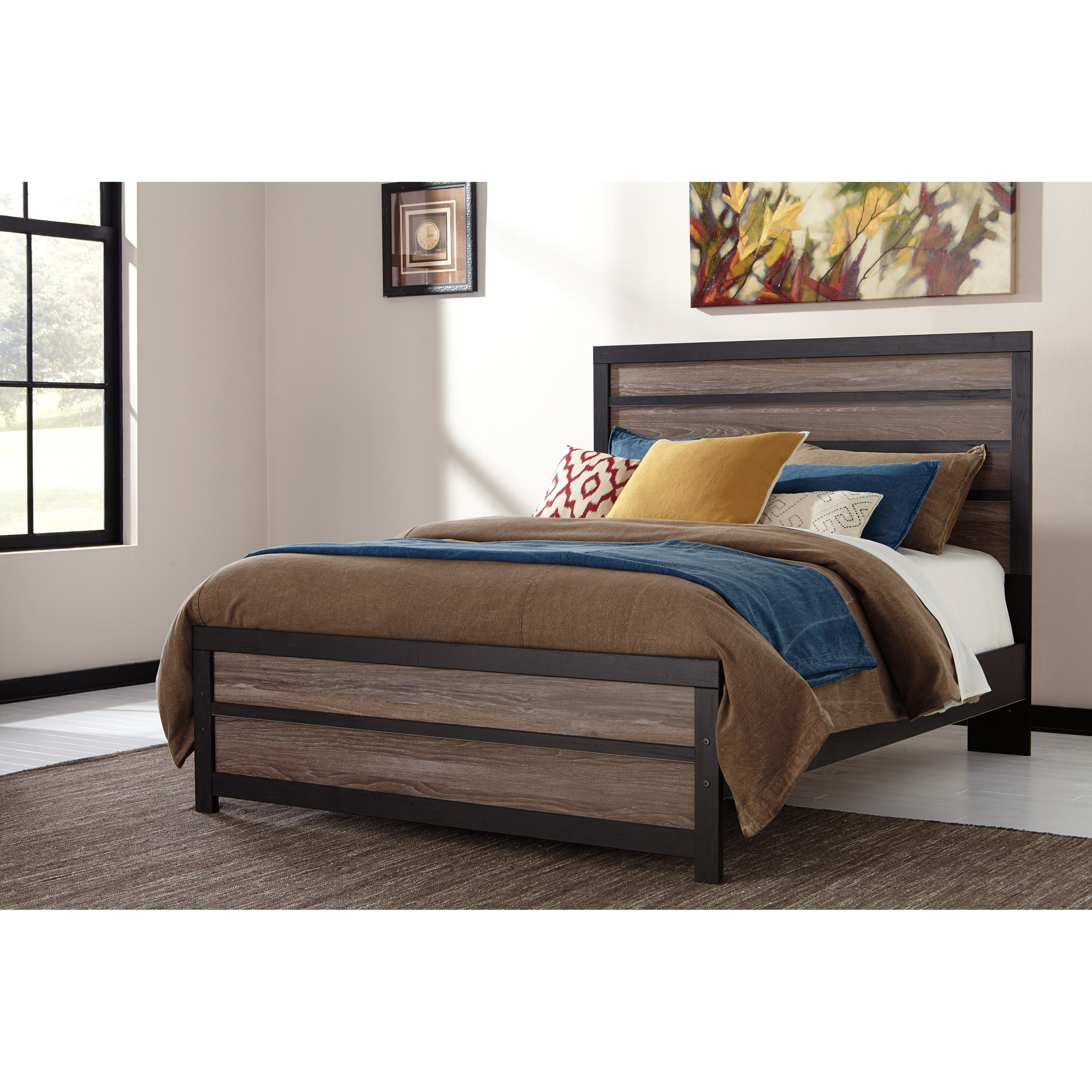 Bed Queen Harrington Rustic Queen Panel Bed With Two Tone Plank Look By Signature Design By Ashley At Rotmans