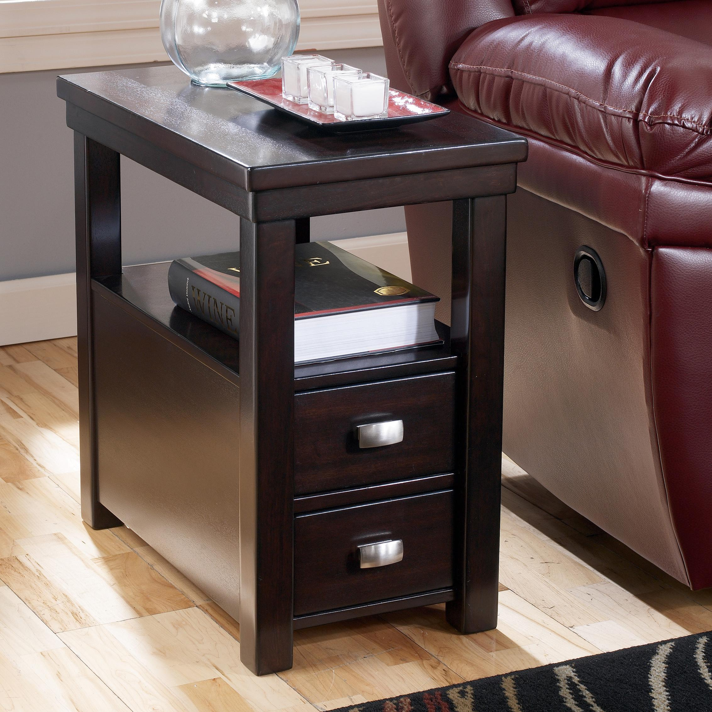 Black End Tables With Drawer Hadley Chairside End Table With 2 Drawers 1 Shelf By Signature Design By Ashley At Rotmans