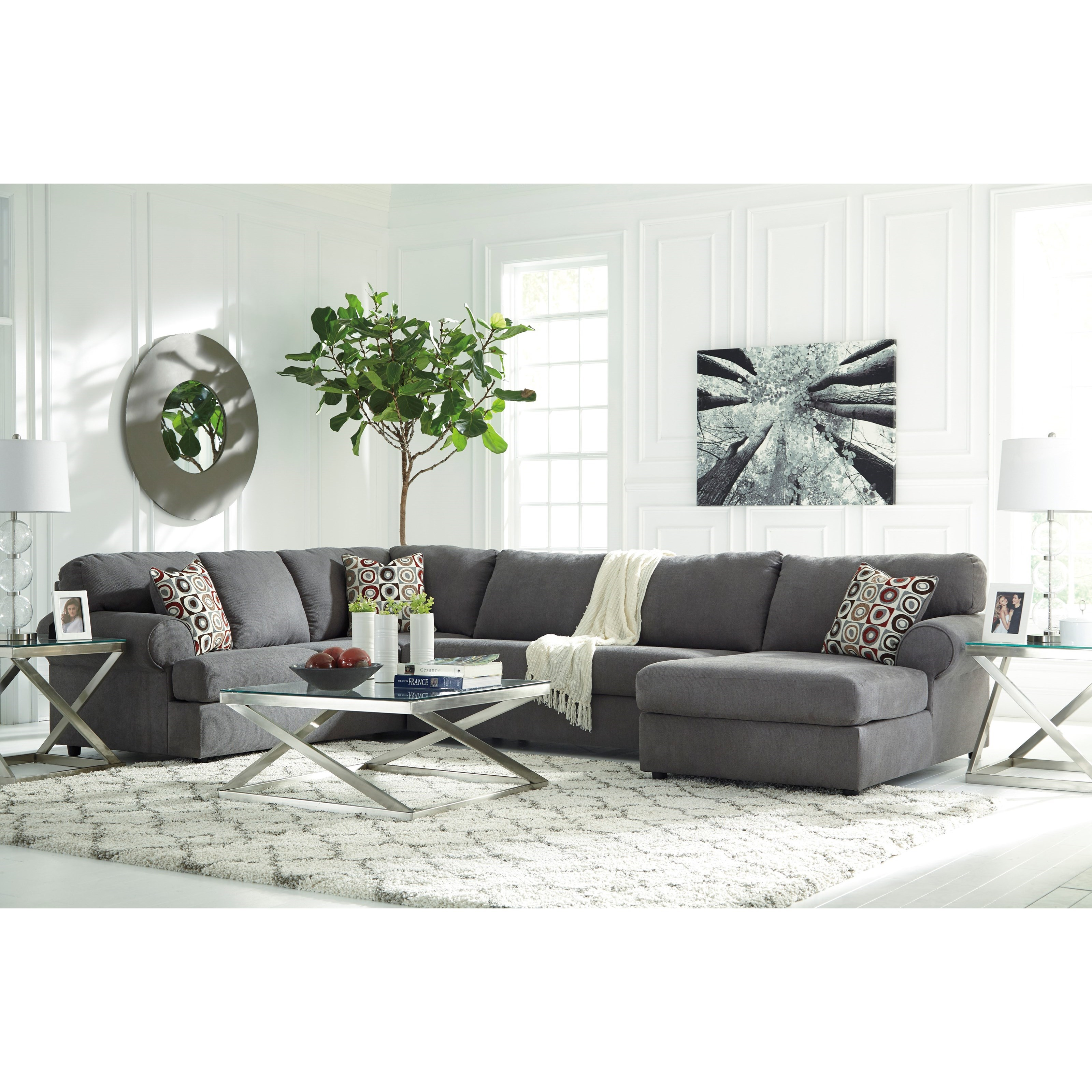 furniture ashley vista chocolate casual 3 piece sectional with of opelousas la 3