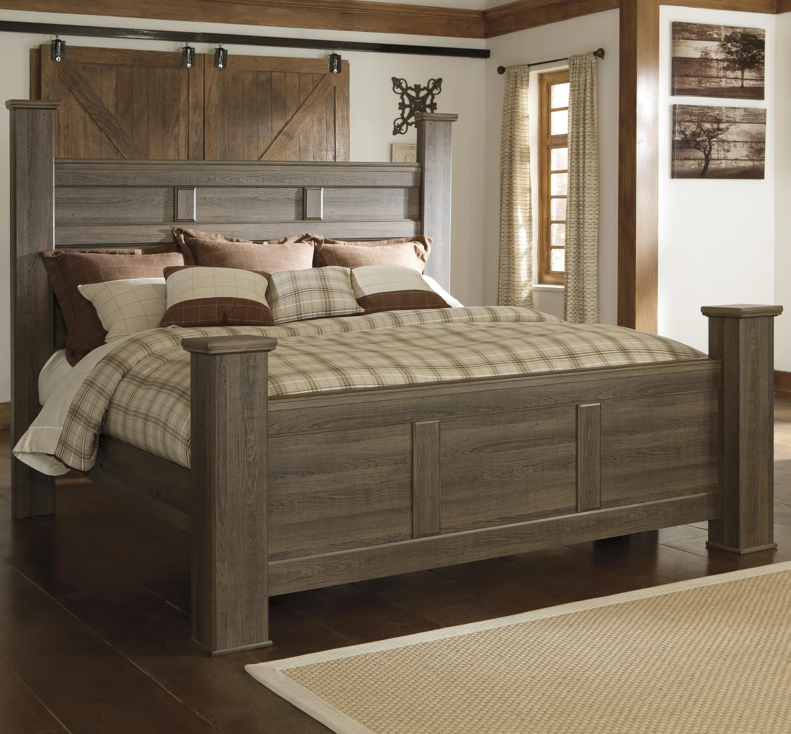 Signature Design By Ashley Juararo Transitional California King Poster Bed Royal Furniture Poster Beds