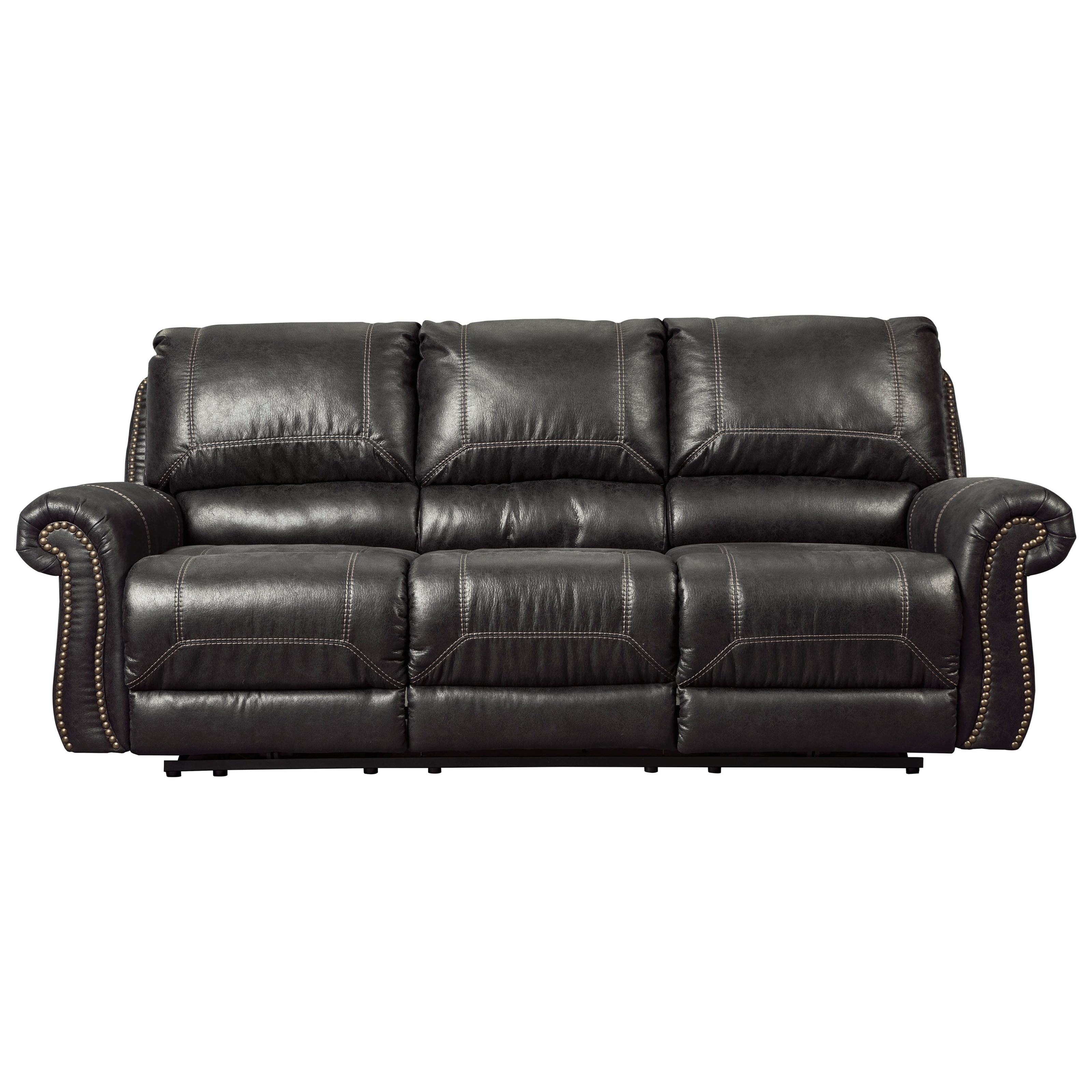 Sofa With Recliner Milhaven Reclining Sofa With Rolled Arms Nailhead Trim By Signature Design By Ashley At Royal Furniture