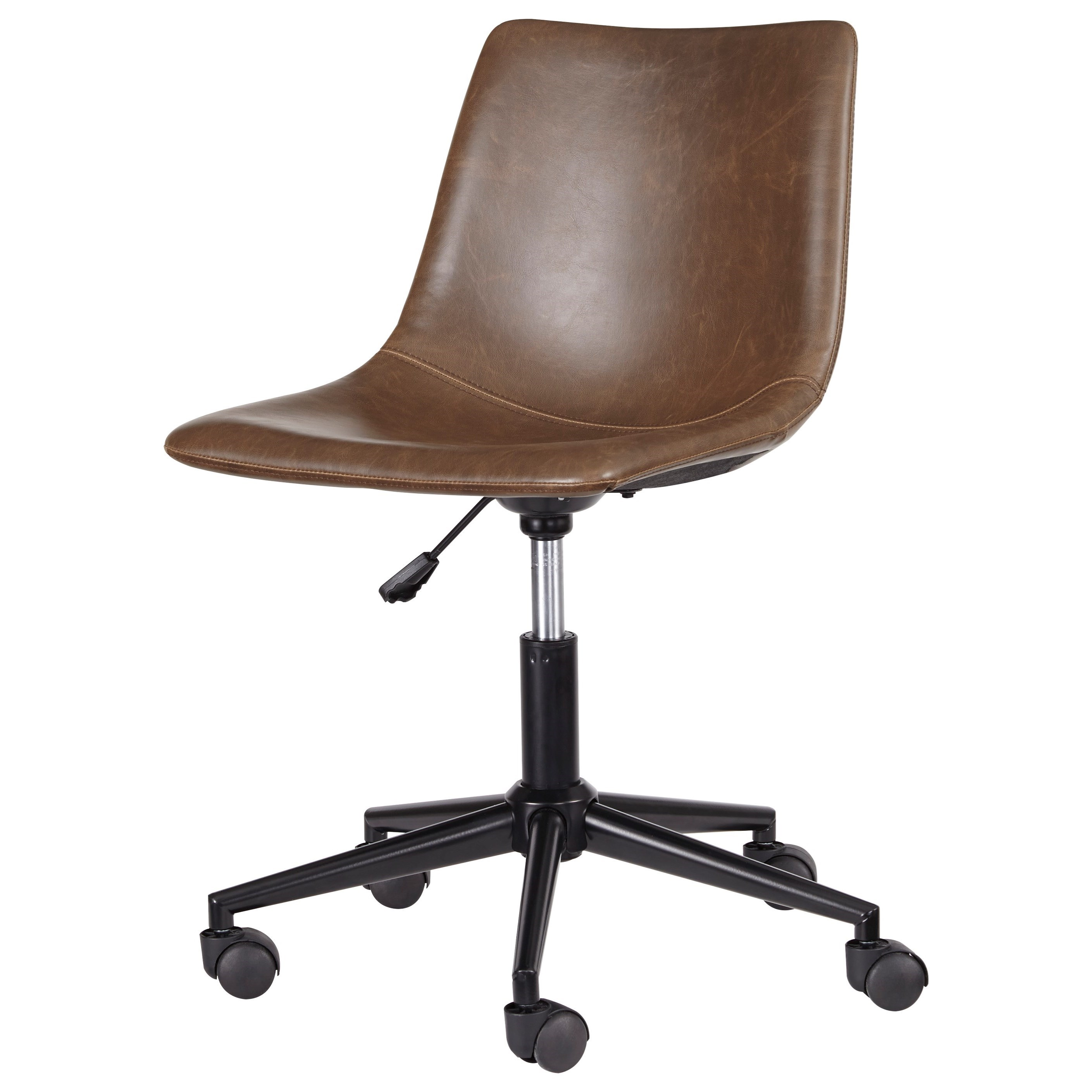 Desk Seat Office Chair Program Home Office Swivel Desk Chair In Brown Faux Leather By Signature Design By Ashley At Colder S Furniture And Appliance