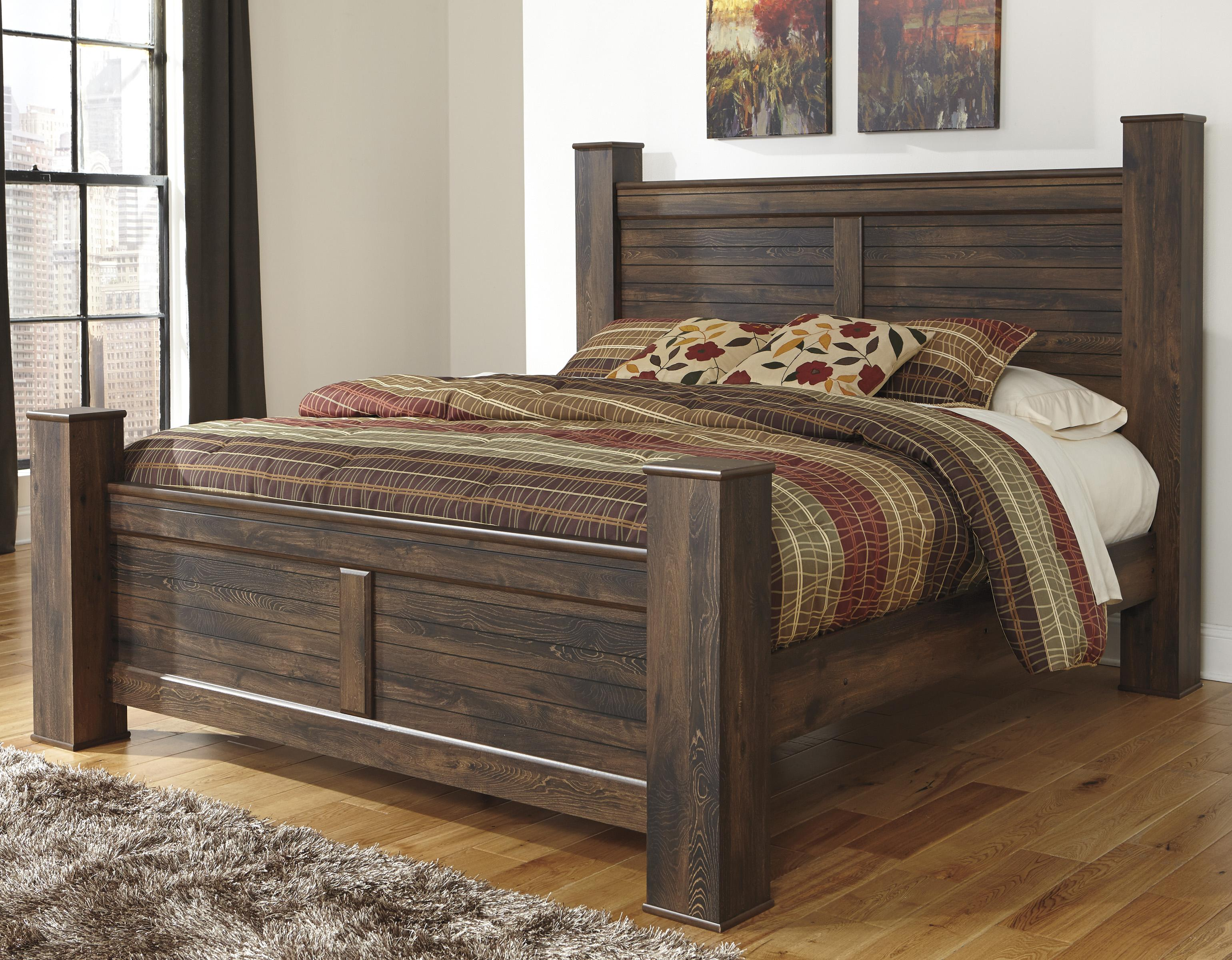 King Bed With Posts Quinden Rustic King Poster Bed By Signature Design By Ashley At Royal Furniture