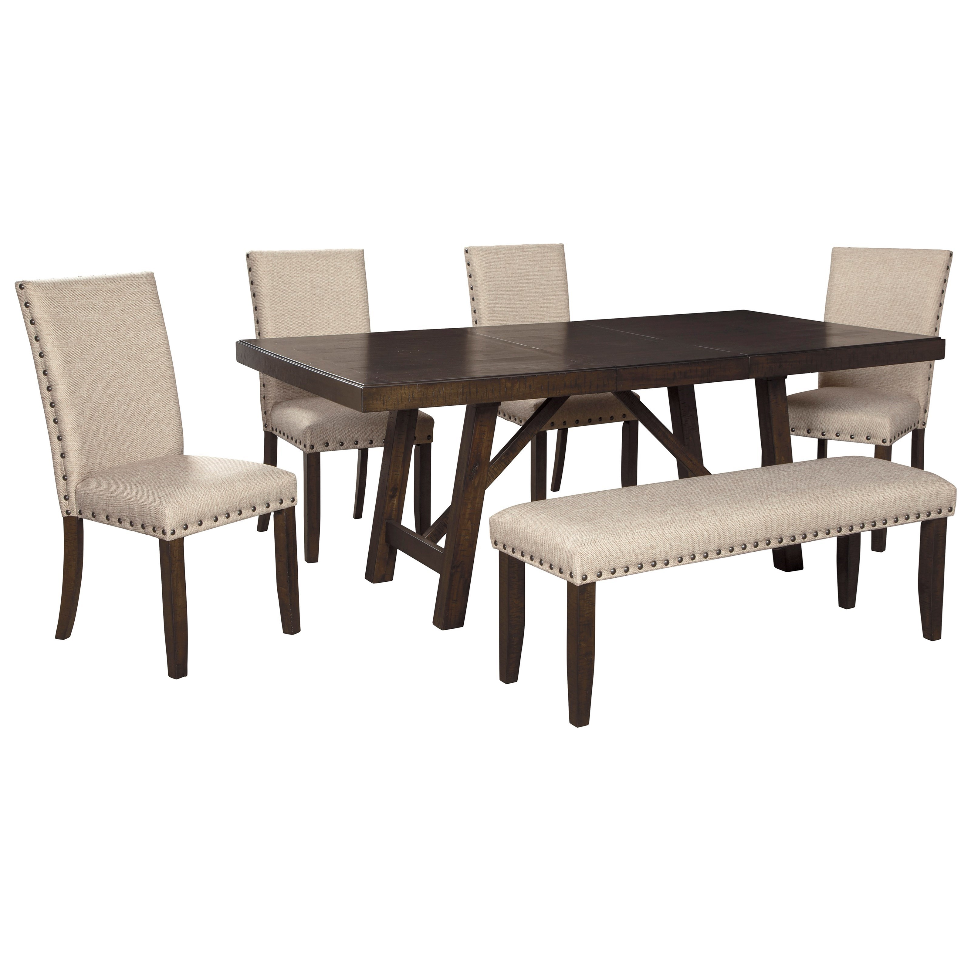 Ashley Signature Design Rokane D397 35 4x02 00 Dining Table Set For Six With Bench Dunk Bright Furniture Table Chair Set With Bench